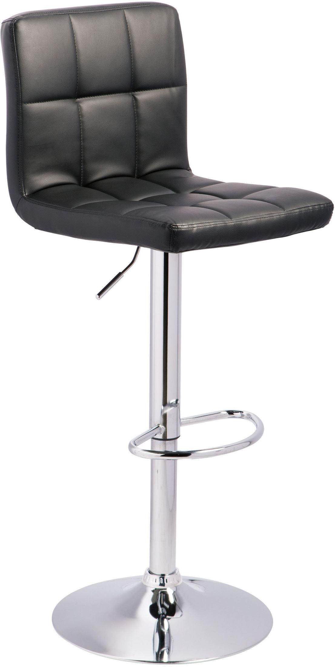 Black And Chrome Tall Upholstered Swivel Barstool D120