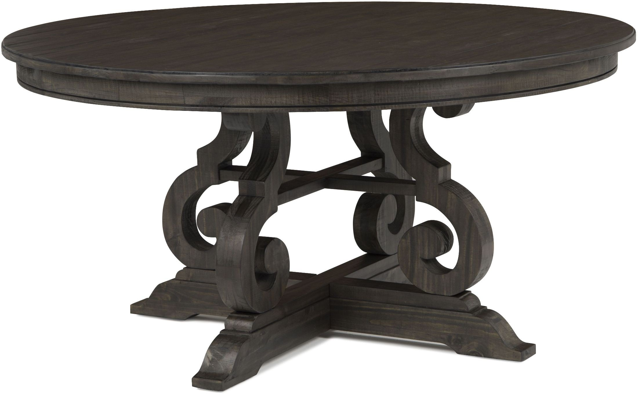 Bellamy Deep Weathered Pine Round Dining Table From
