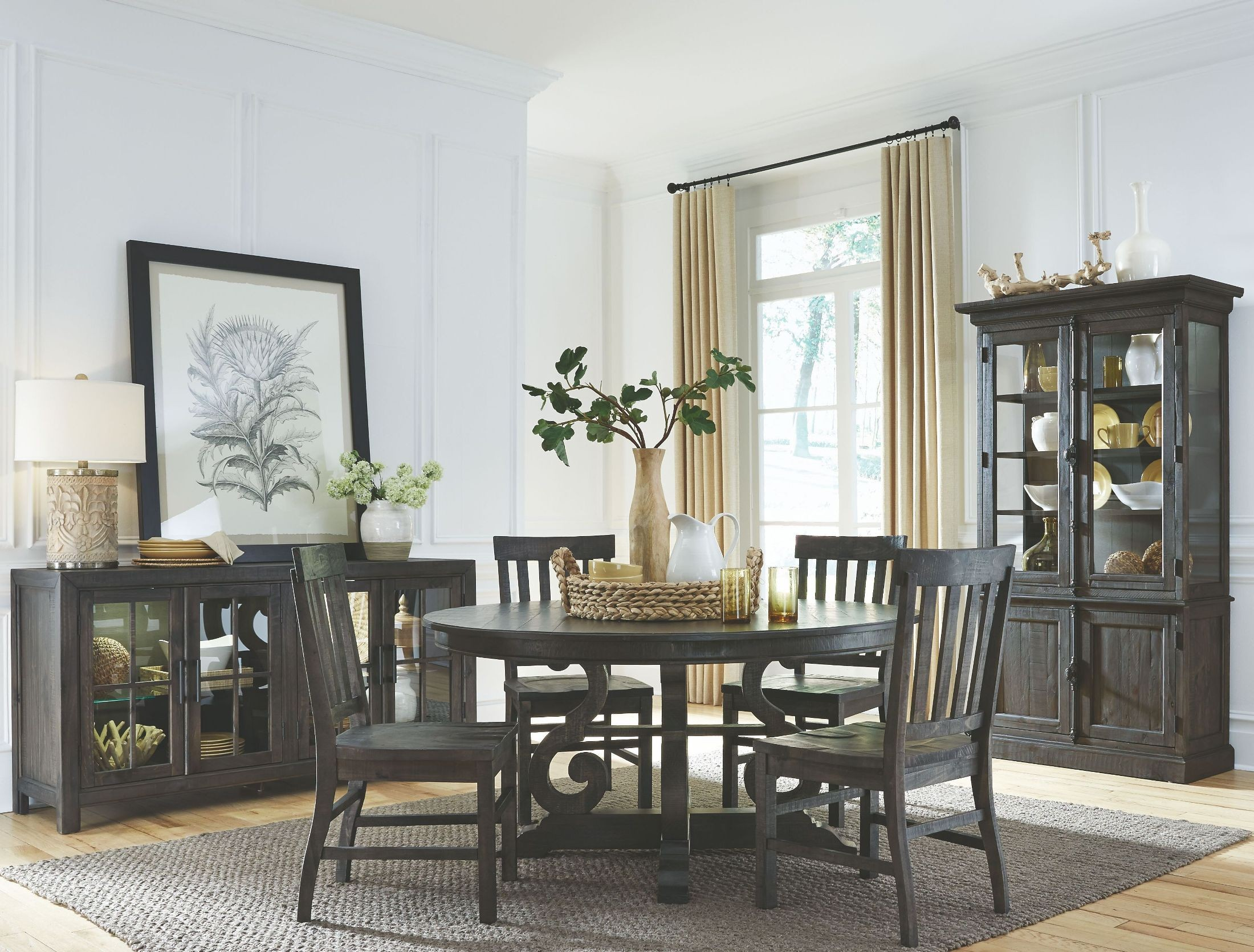 bellamy deep weathered pine round dining table from magnussen home coleman furniture. Black Bedroom Furniture Sets. Home Design Ideas
