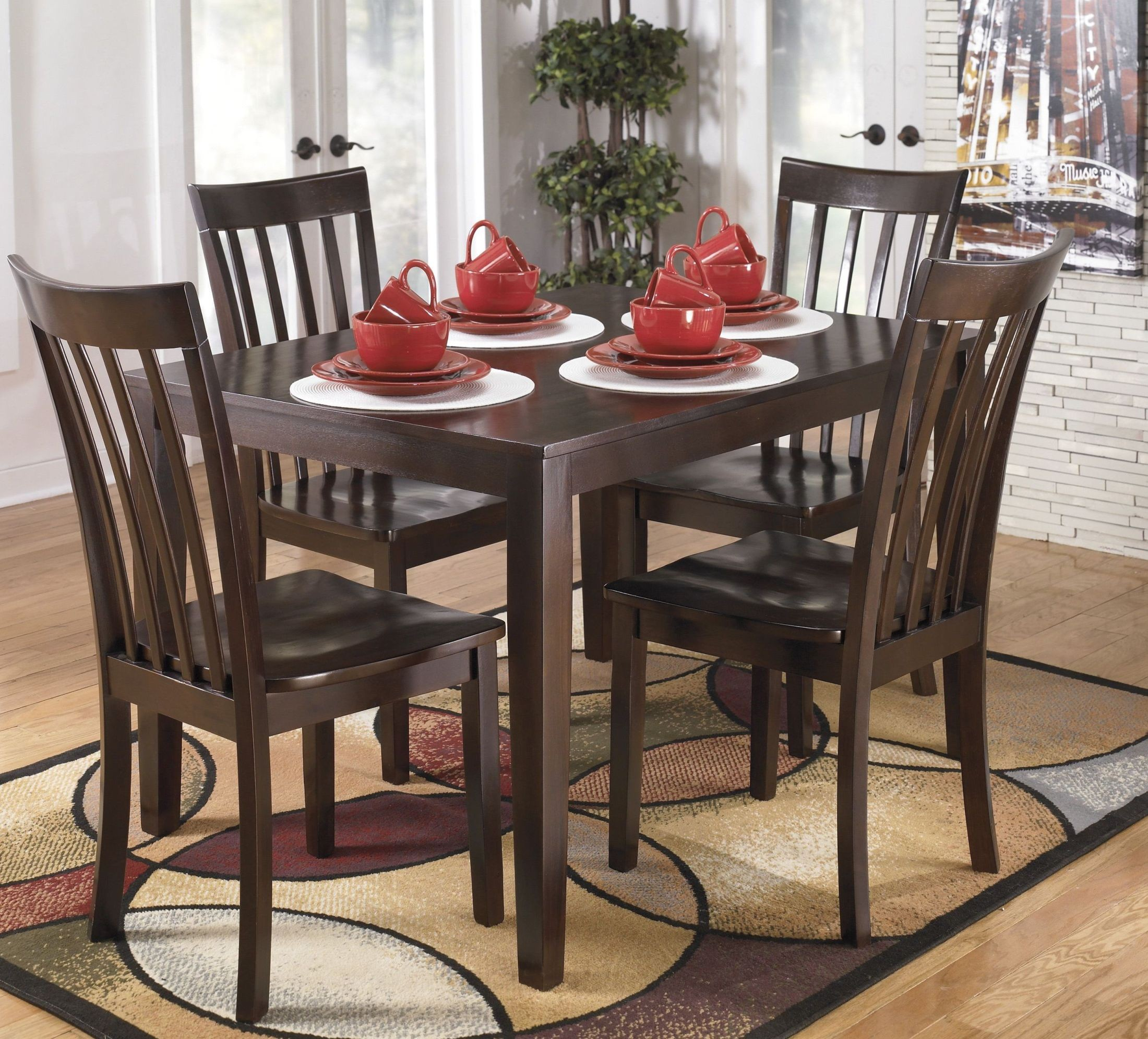 Ashley Furniture Hyland 5 Piece Dining Set With: Hyland 5 Pcs Casual Dining Set From Ashley (D258-225