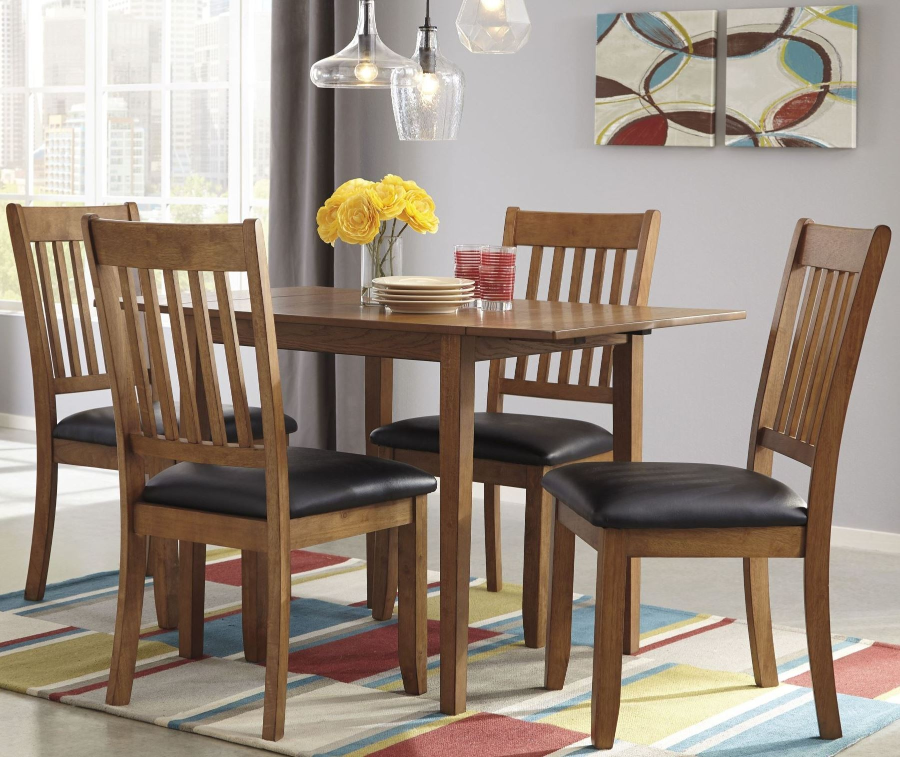 Dining Room Sets With Leaf: Joveen Light Brown Drop Leaf Dining Room Set From Ashley