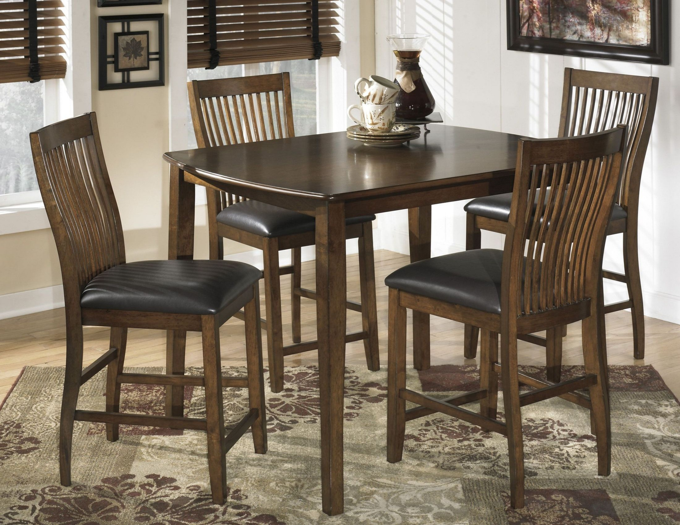 Stuman rectangular dining room counter table set from for Dining room furniture