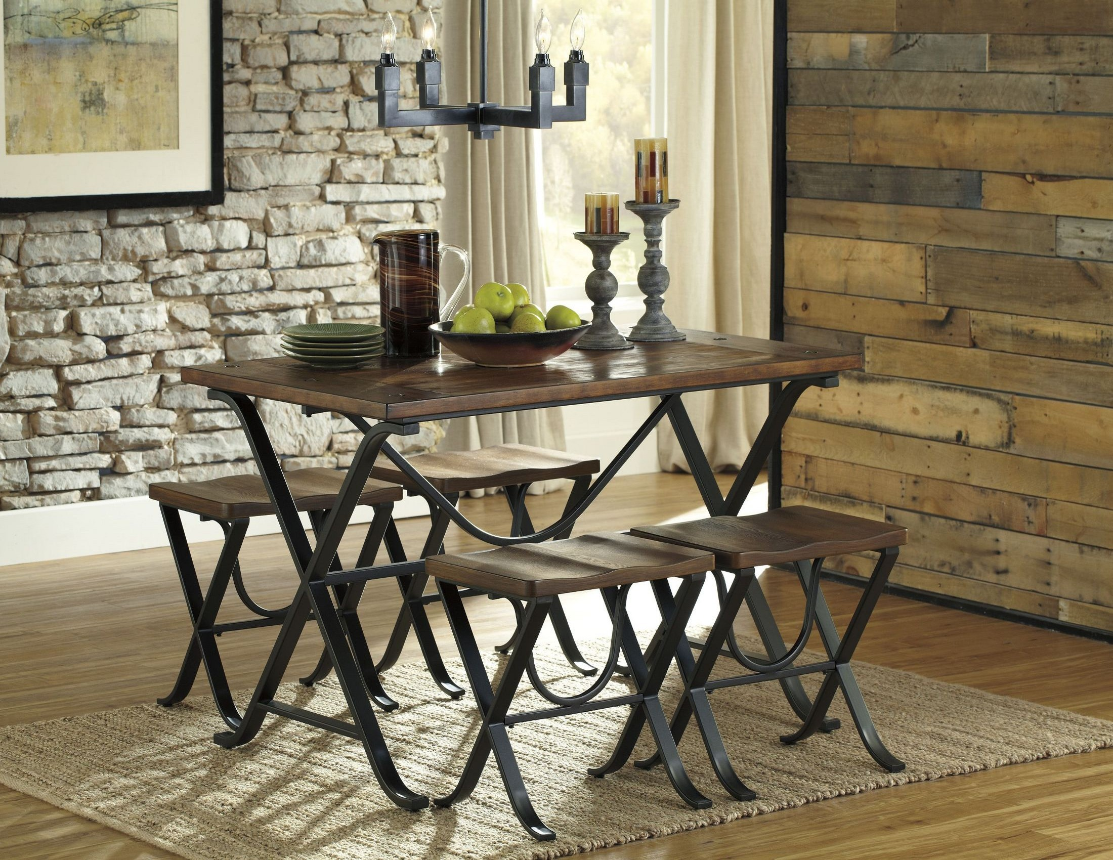 Freimore 5 Pieces Rectangular Dining Room Table Set From
