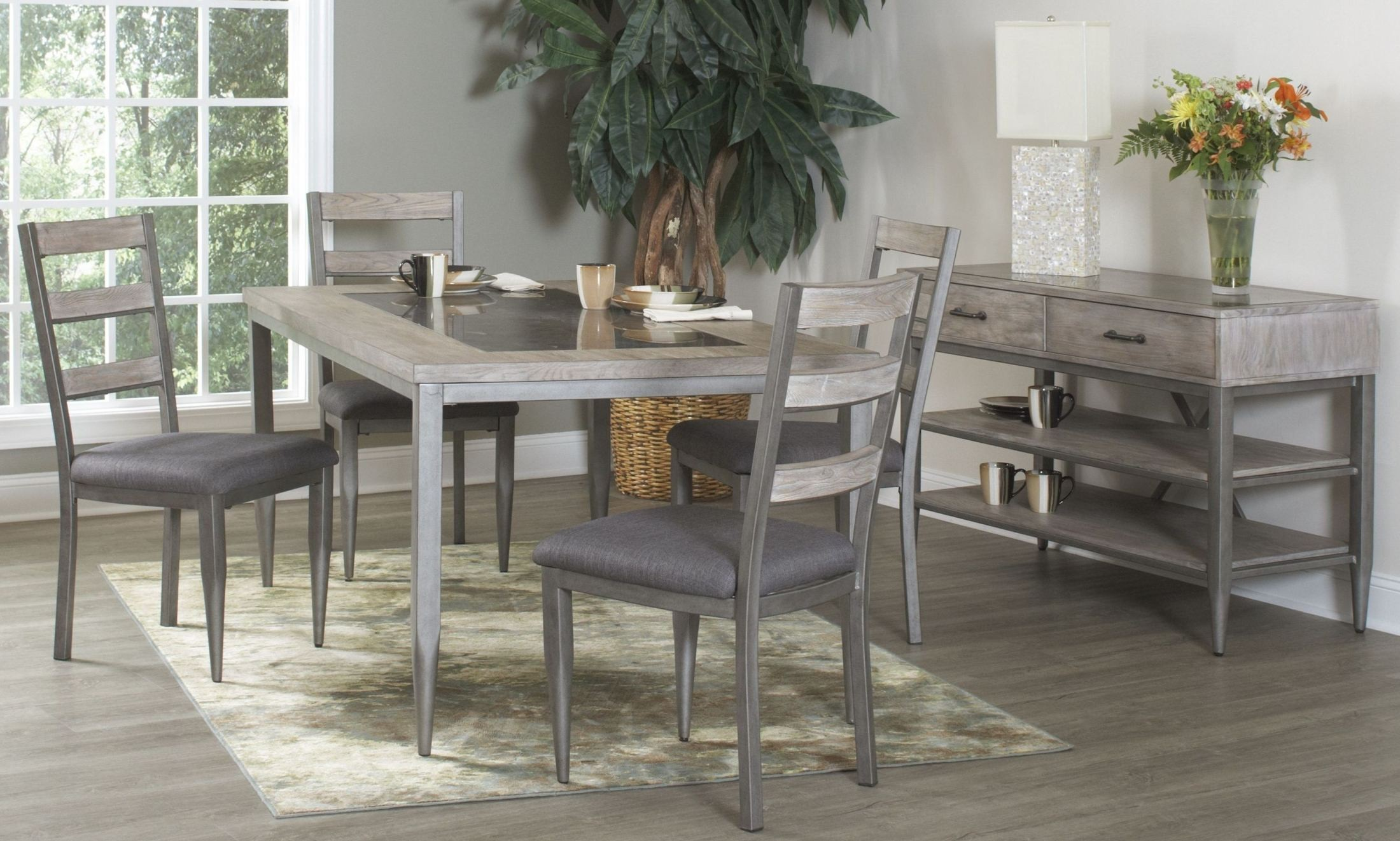River Loft Rustic Oak and Metal Rectangular Dining Table from ...