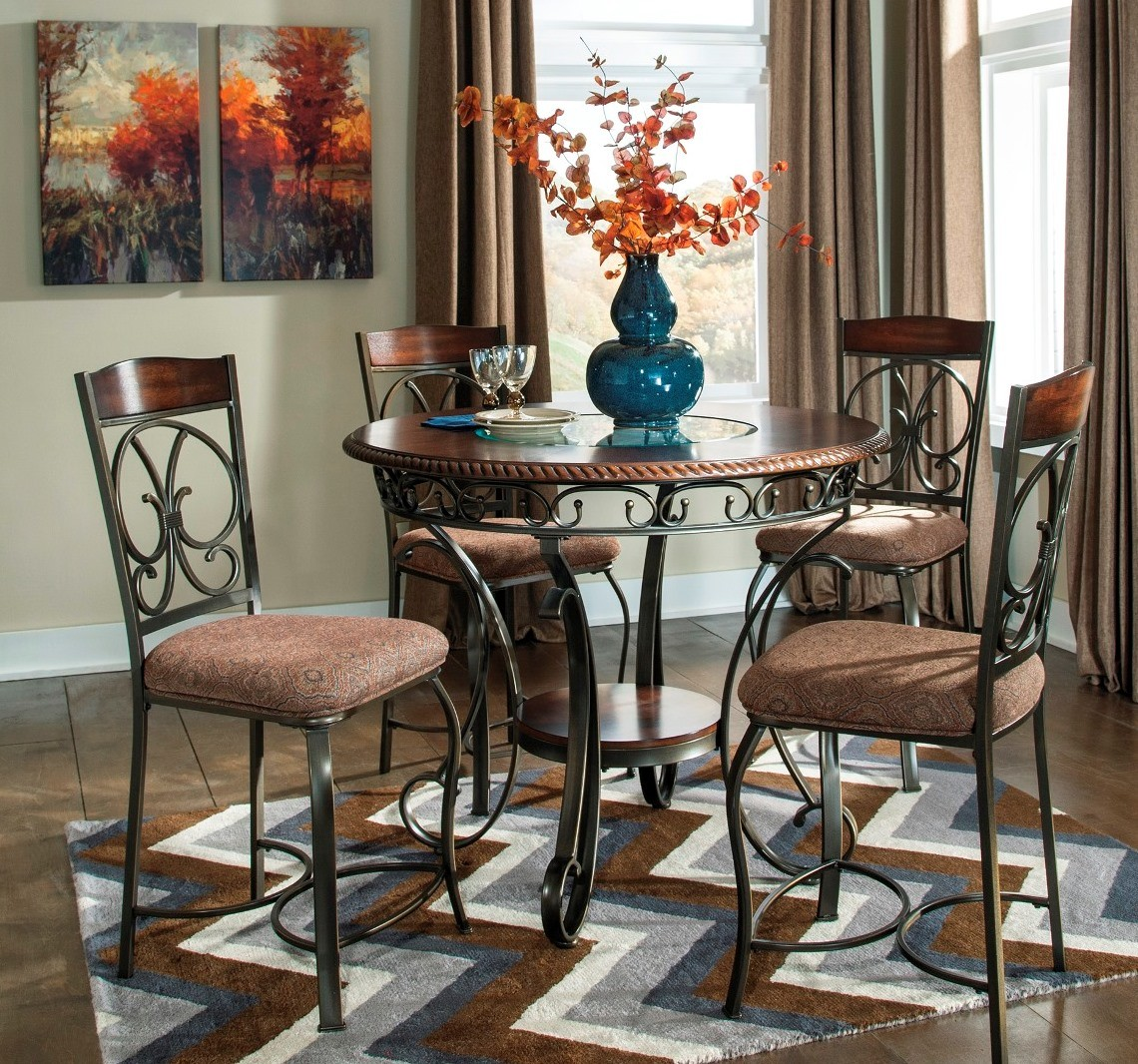Round Dining Room Sets For 6: Glambrey Round Dining Room Counter Height Table Set From