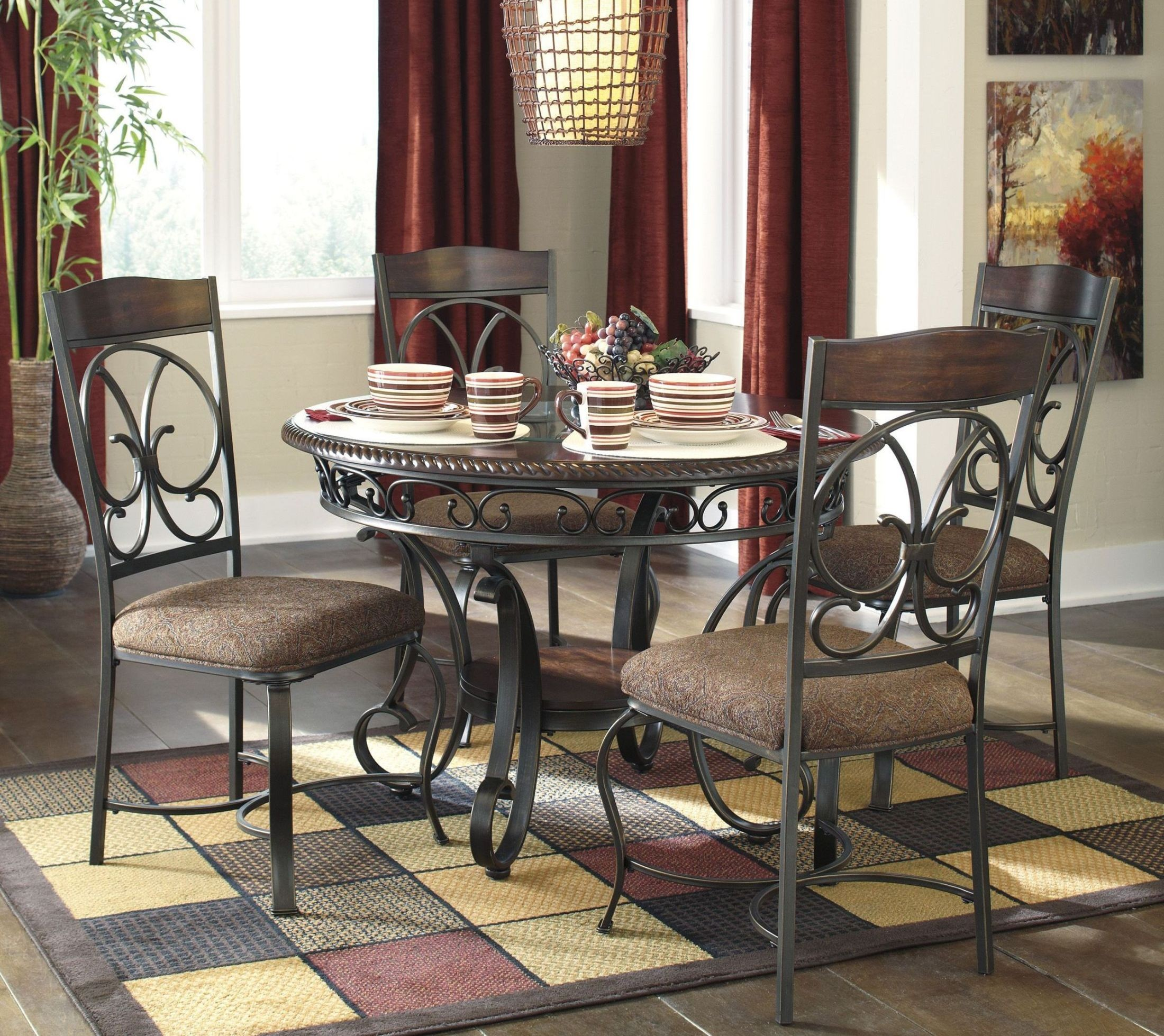 ashley dining room sets glambrey round dining room set from ashley d329 15 coleman furniture 1245
