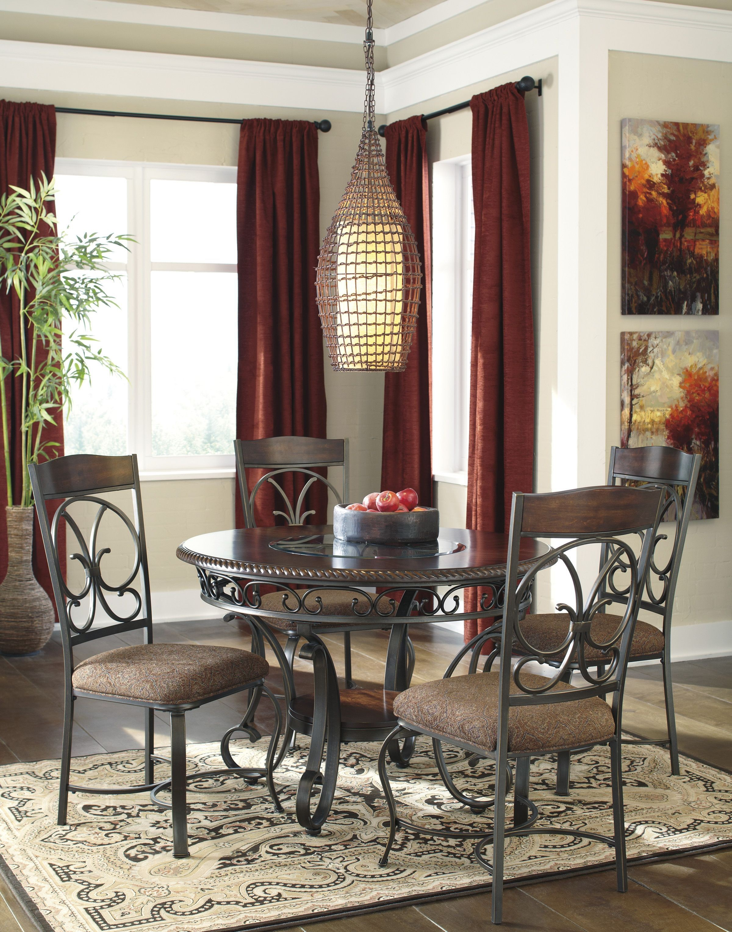 ashley dining room sets glambrey round dining room set from ashley d329 15 coleman furniture 1348