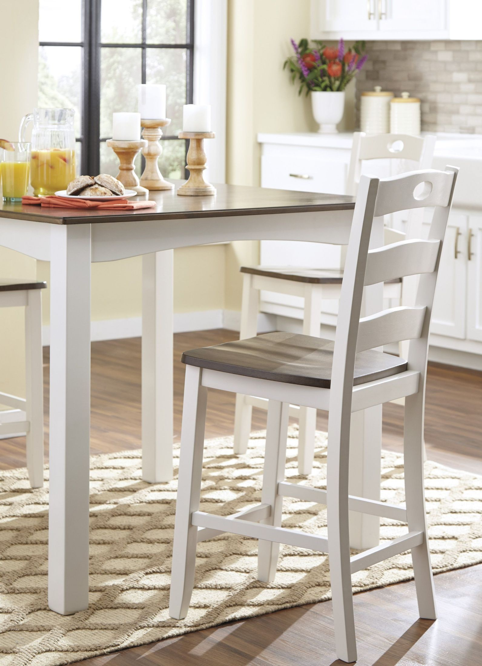 Woodanville White And Brown Square Counter Height Dining