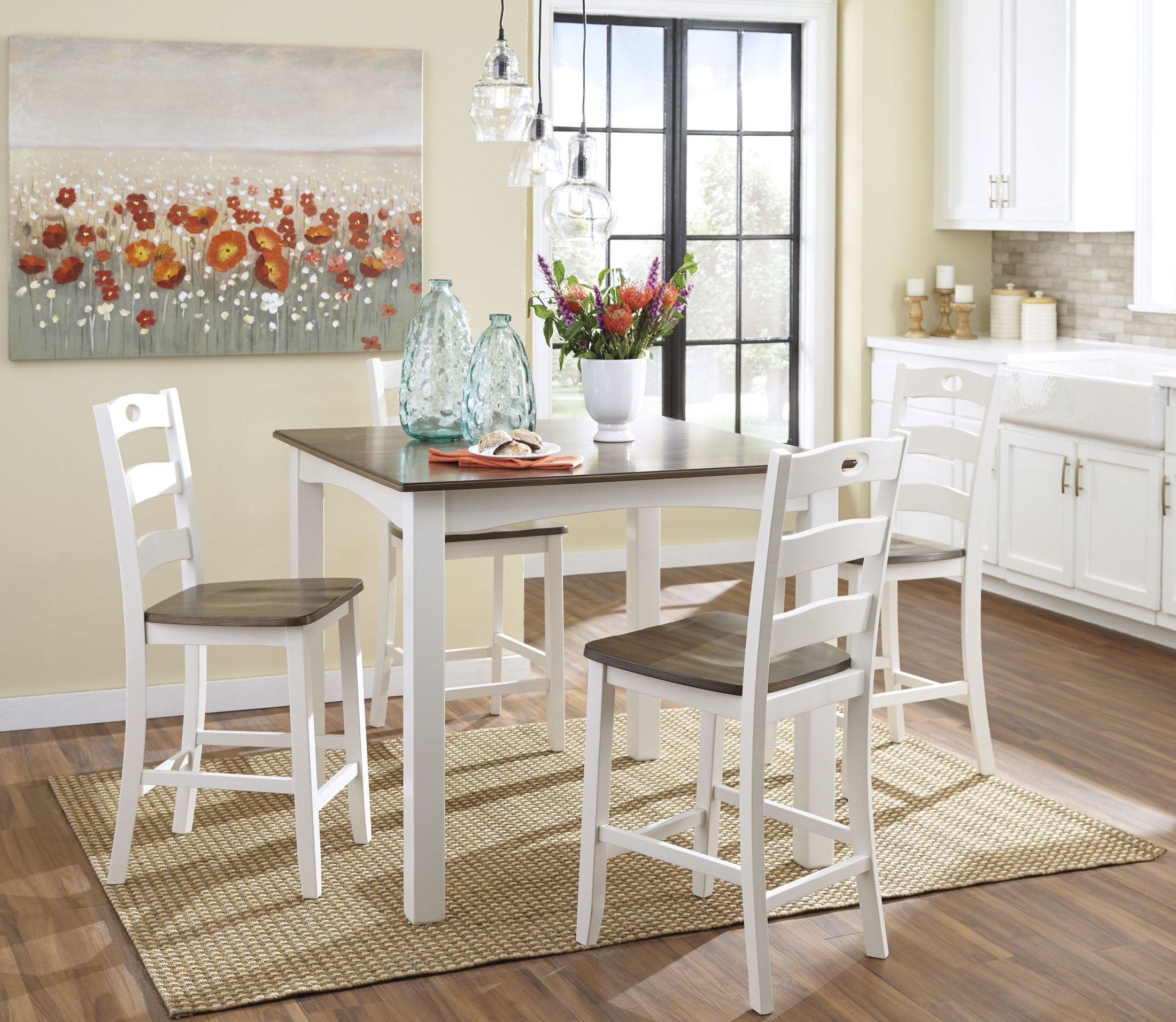 White And Brown Dining Table: Woodanville White And Brown Square Counter Height Dining