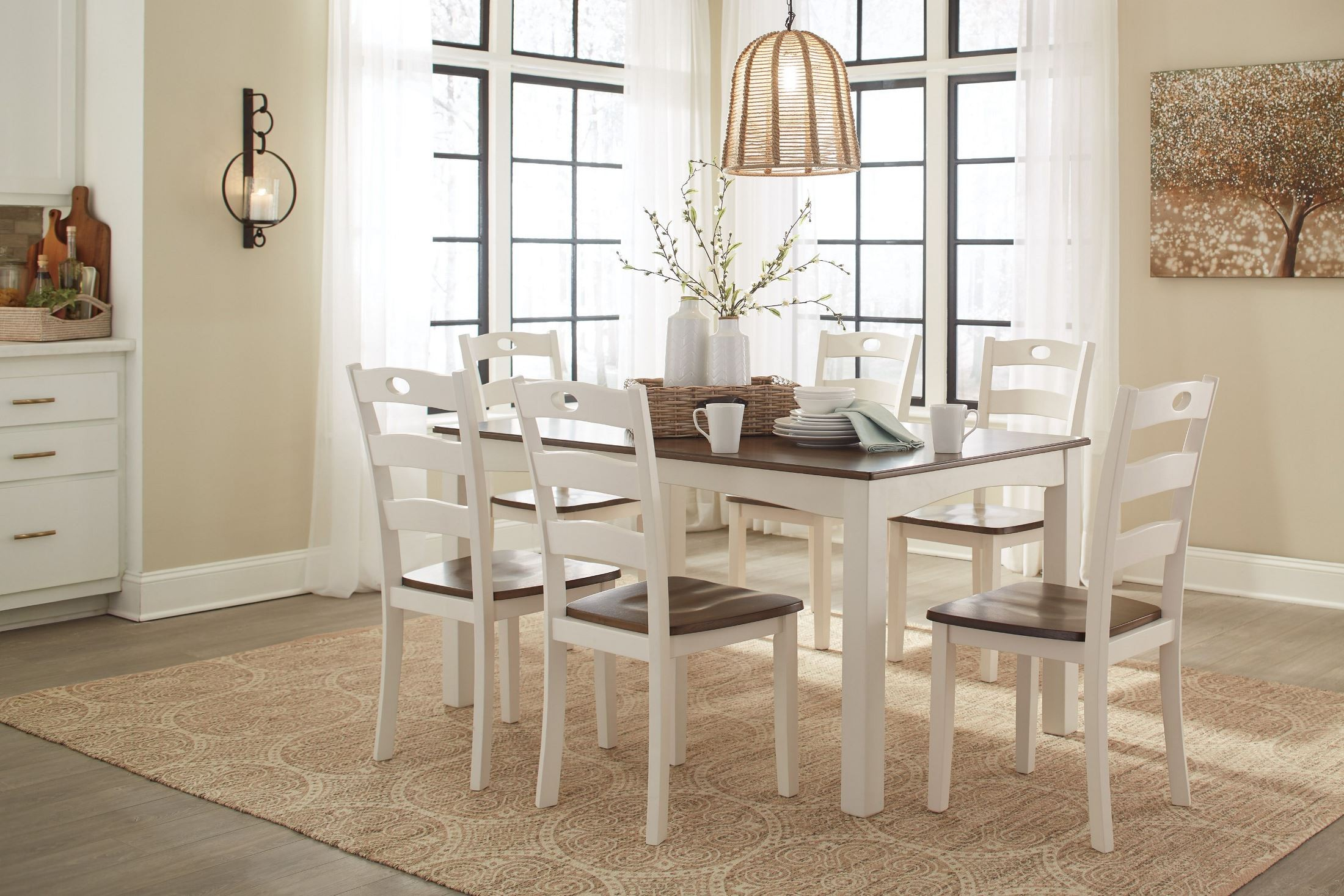 White Dining Room Set Sale Woodanville White And Brown 7 Piece Dining Room Set From
