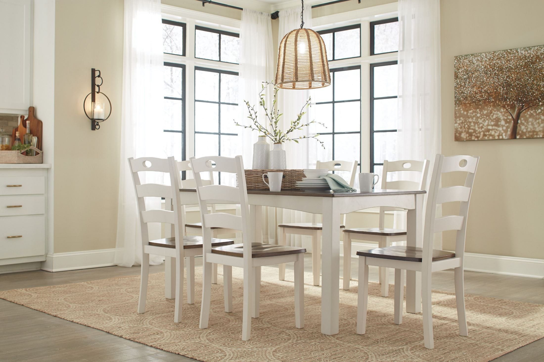Woodanville White And Brown 7 Piece Dining Room Set, D335