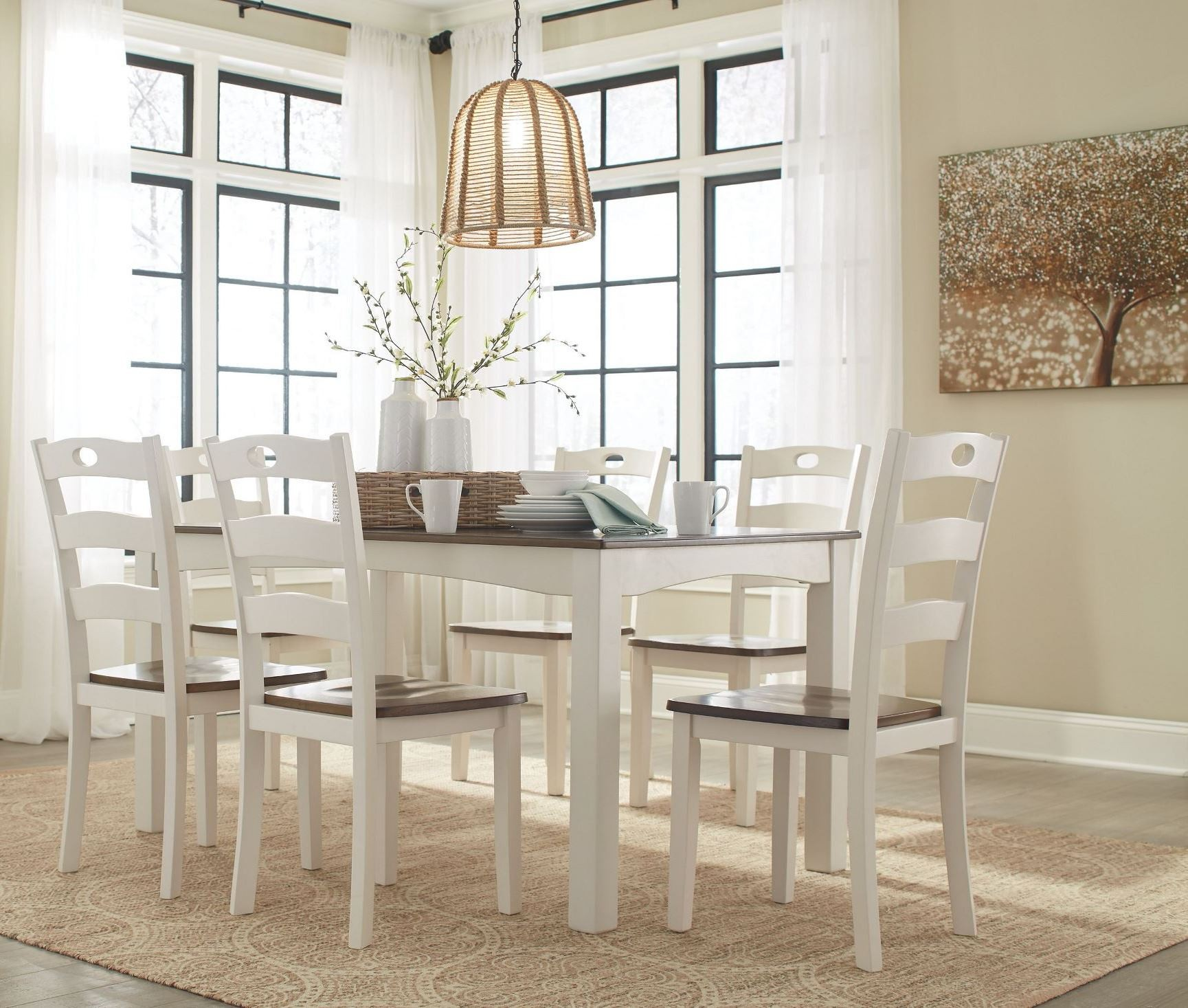 7 Piece Dining Room Set: Woodanville White And Brown 7 Piece Dining Room Set, D335