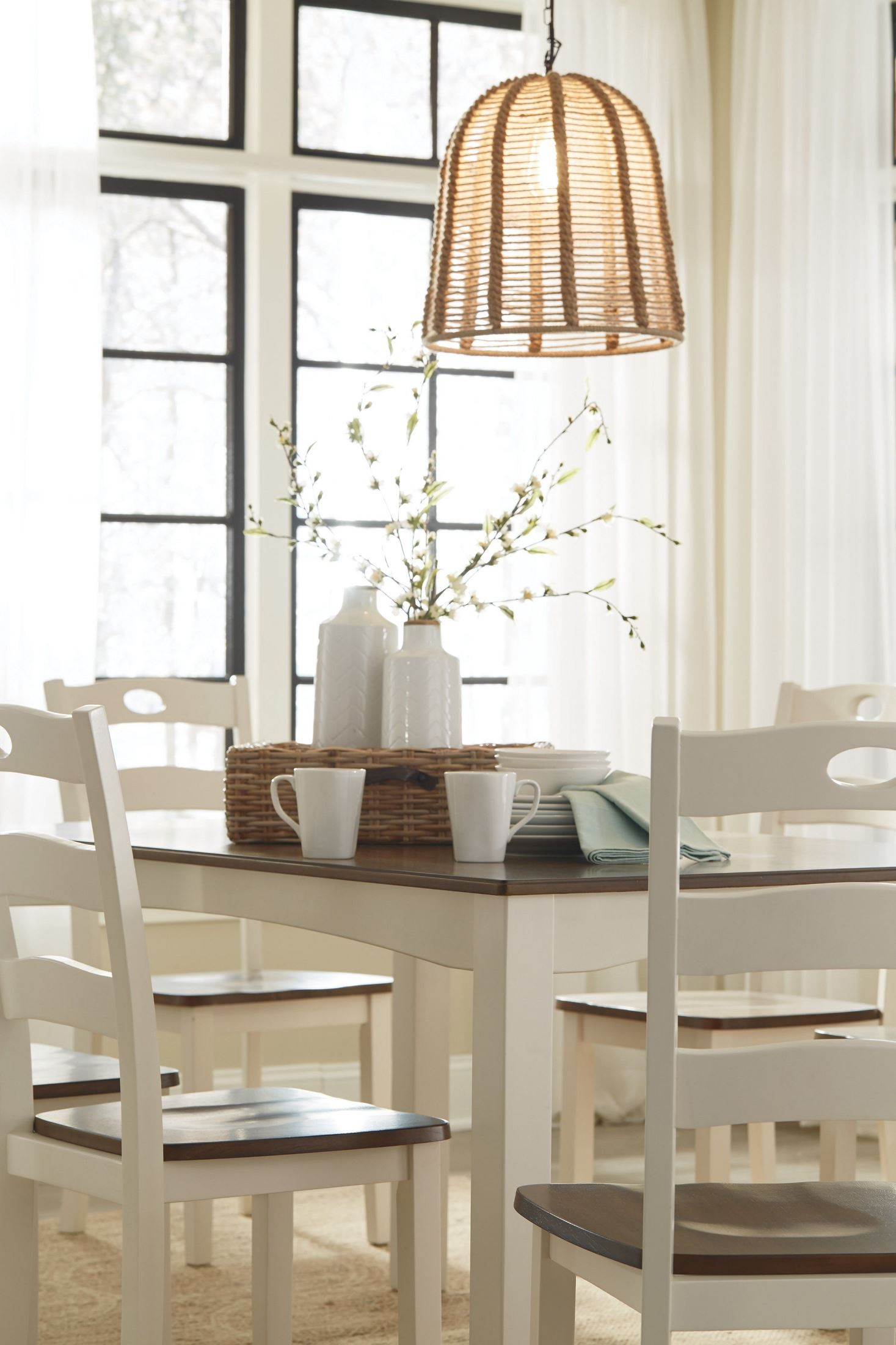 Woodanville White And Brown 7 Piece Dining Room Set From