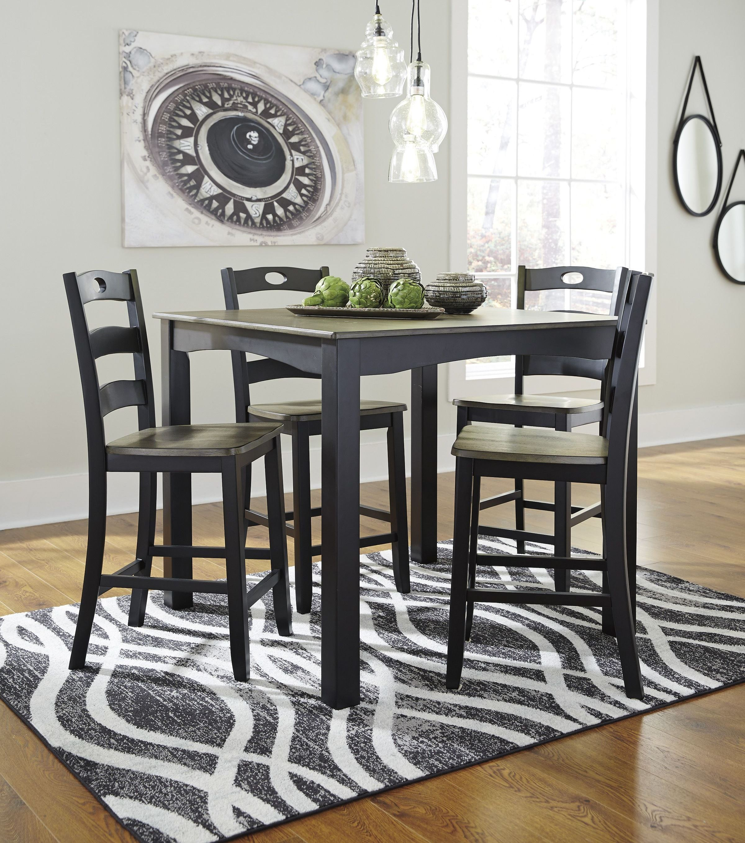 Froshburg 5 Pcs Grayish Brown Counter Height Dining Set from