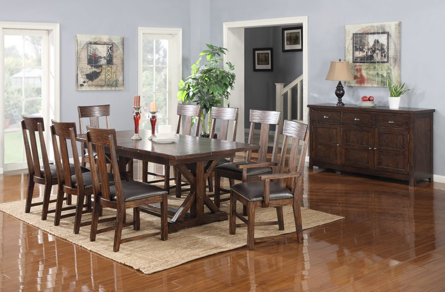 distressed dining room furniture | Ashland Distressed Brown Extendable Dining Room Set from ...