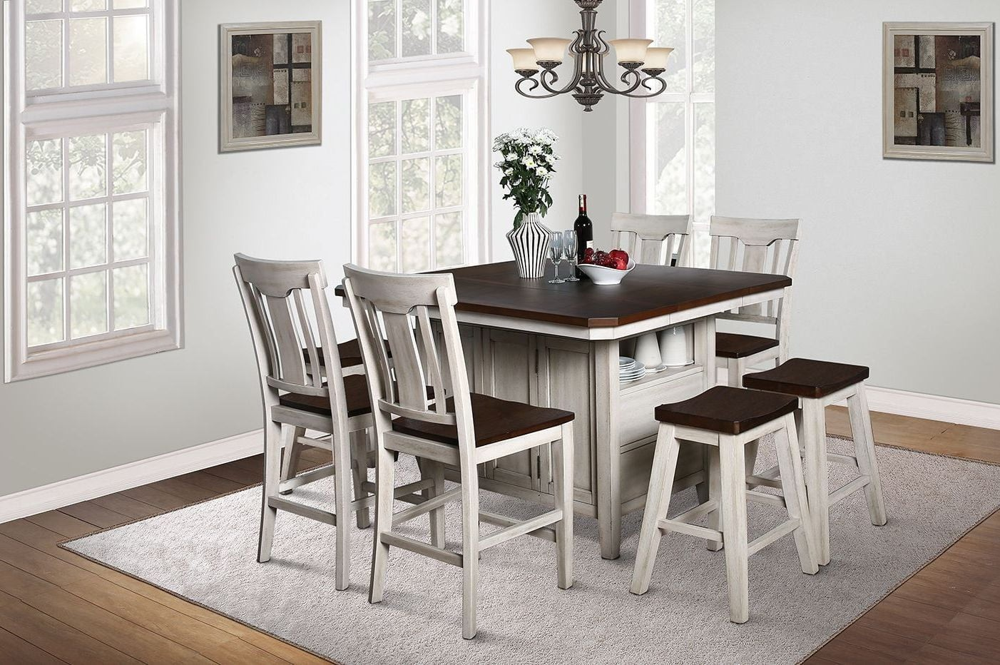 Newport Washed White Kitchen Island Set From Avalon Furniture | Coleman  Furniture