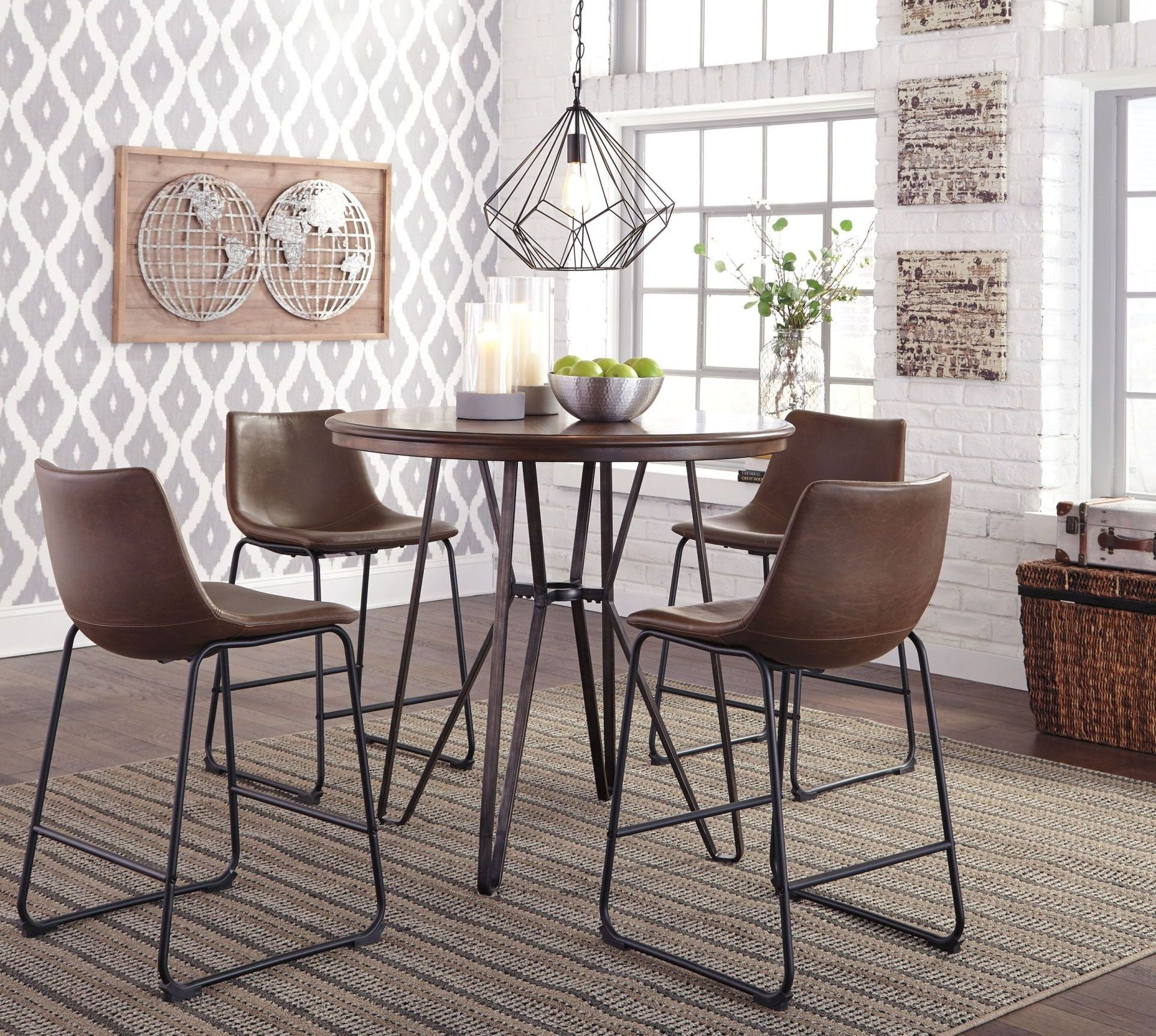 Centiar two tone brown round counter height dining room for 2 tone dining room sets