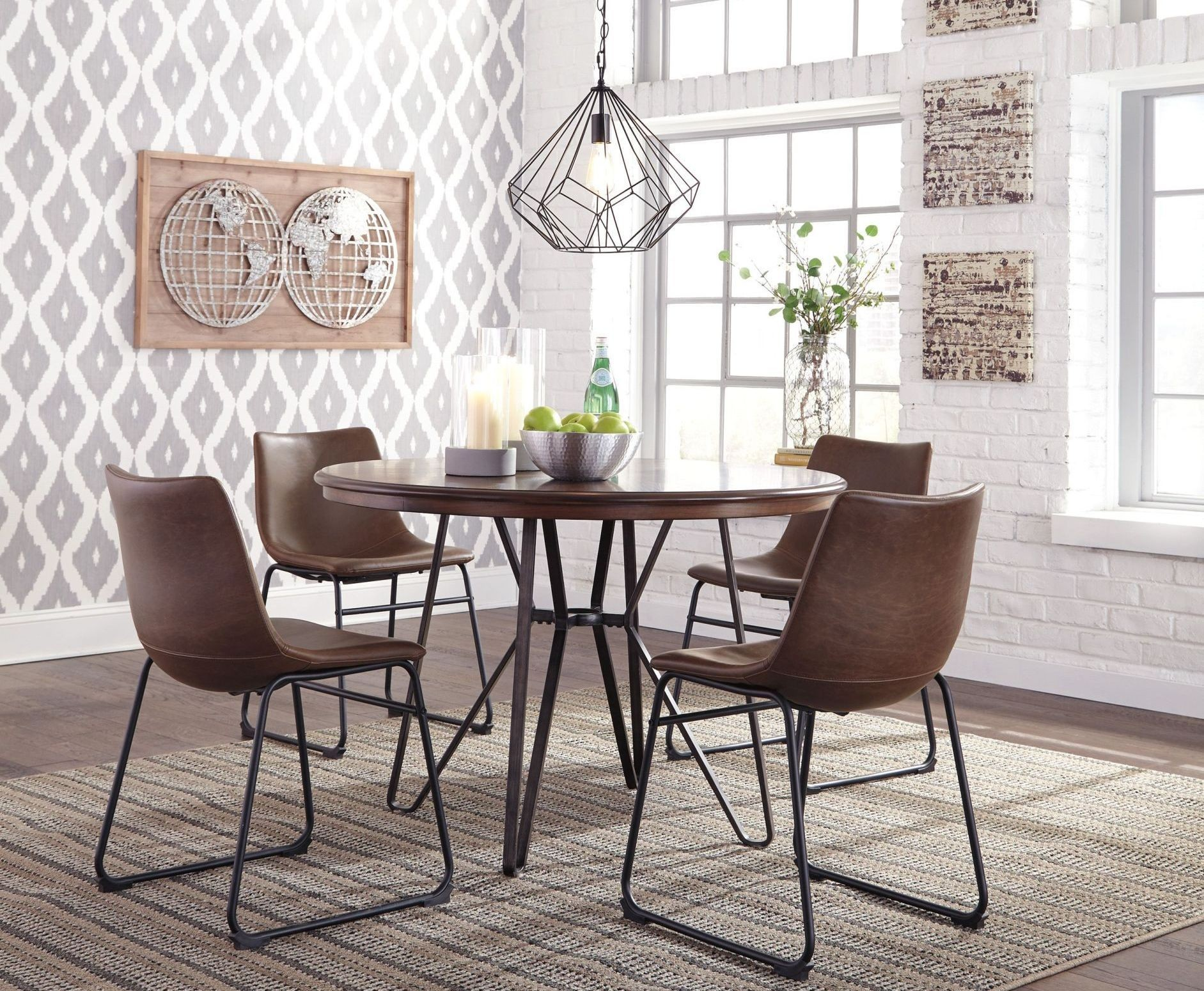 Centiar two tone brown round dining room set from ashley for 2 tone dining room sets