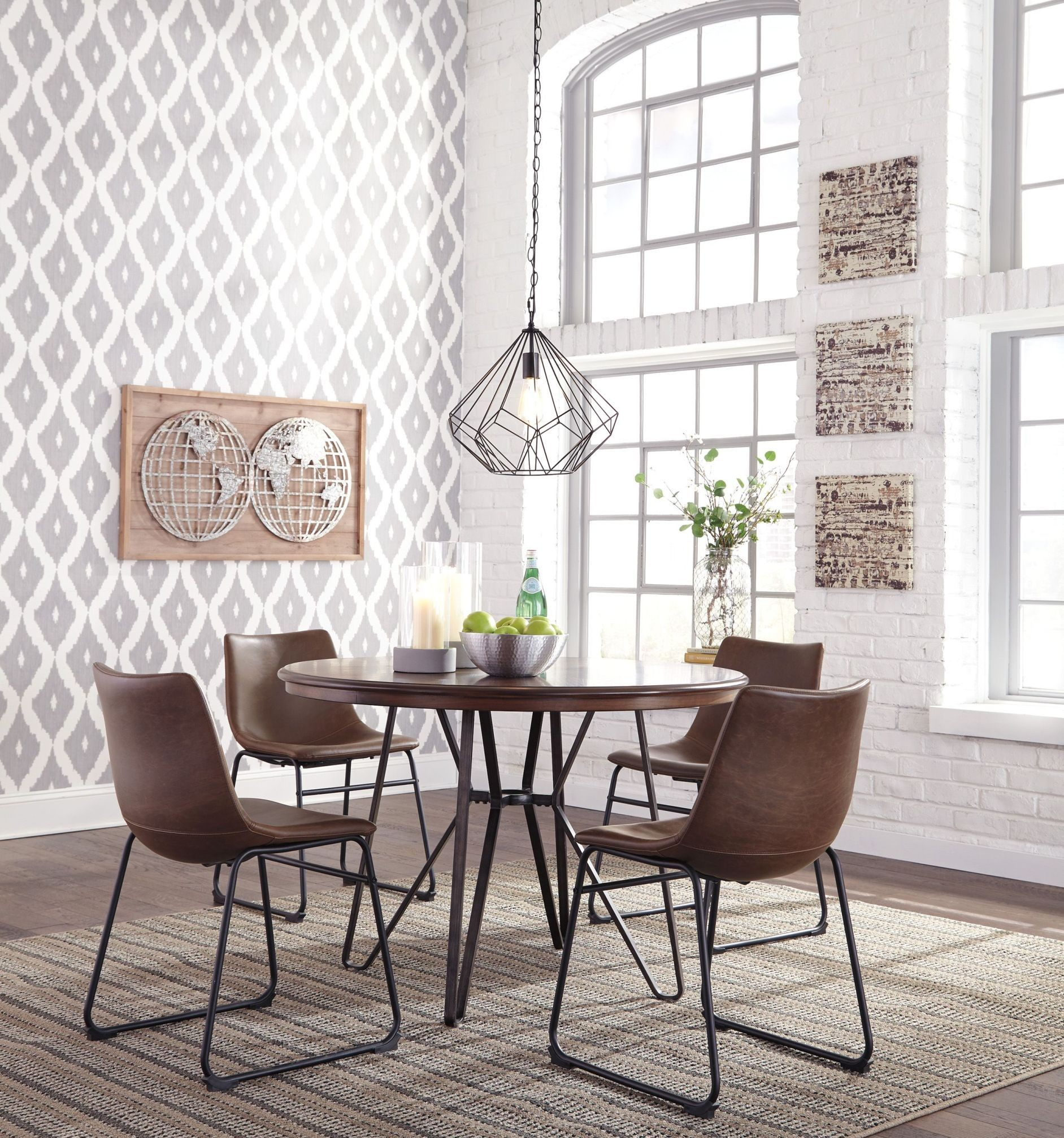 Centiar Two Tone Brown Round Dining Room Set D372 15 Ashley