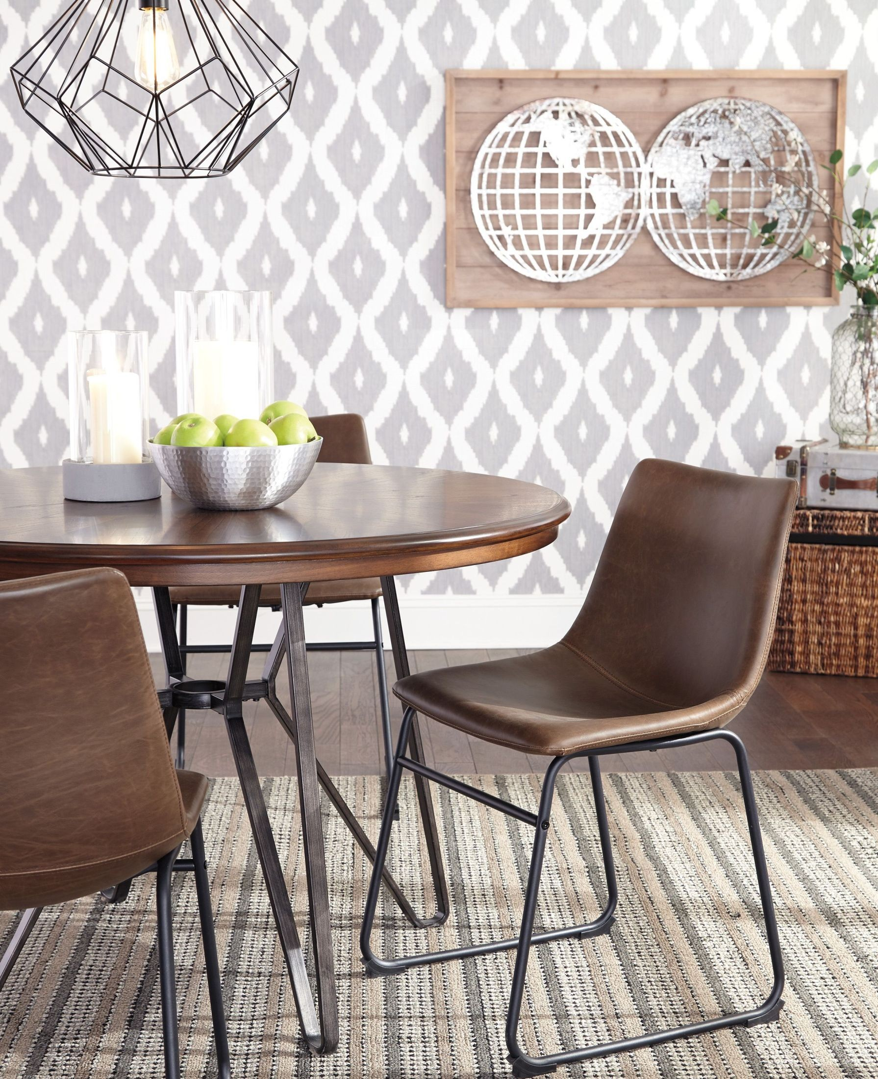 Illinois Modern Two Tone Large Round Dining Table With 8: Centiar Two-Tone Brown Round Dining Table From Ashley