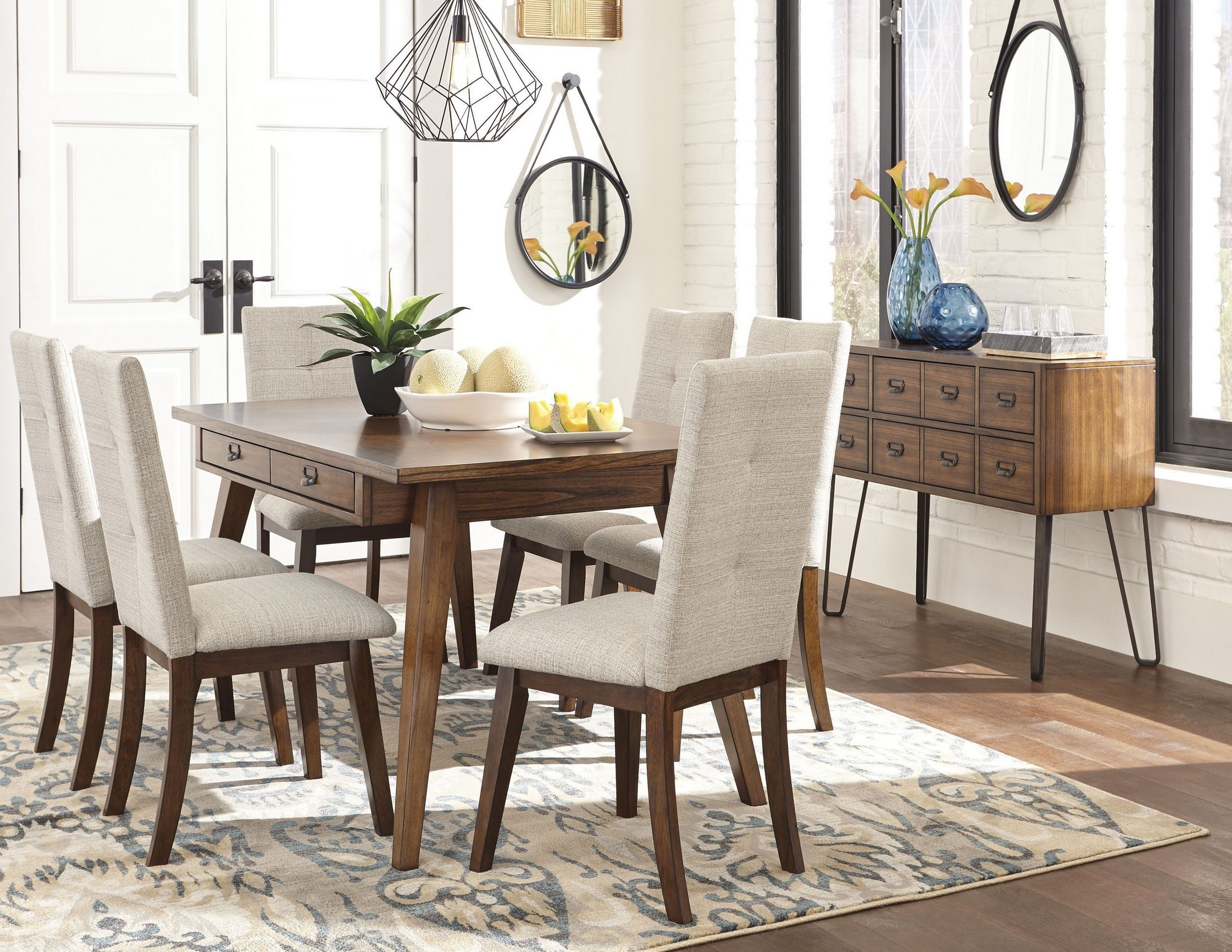 Centiar two tone brown rectangular dining room set from for 2 tone dining room sets