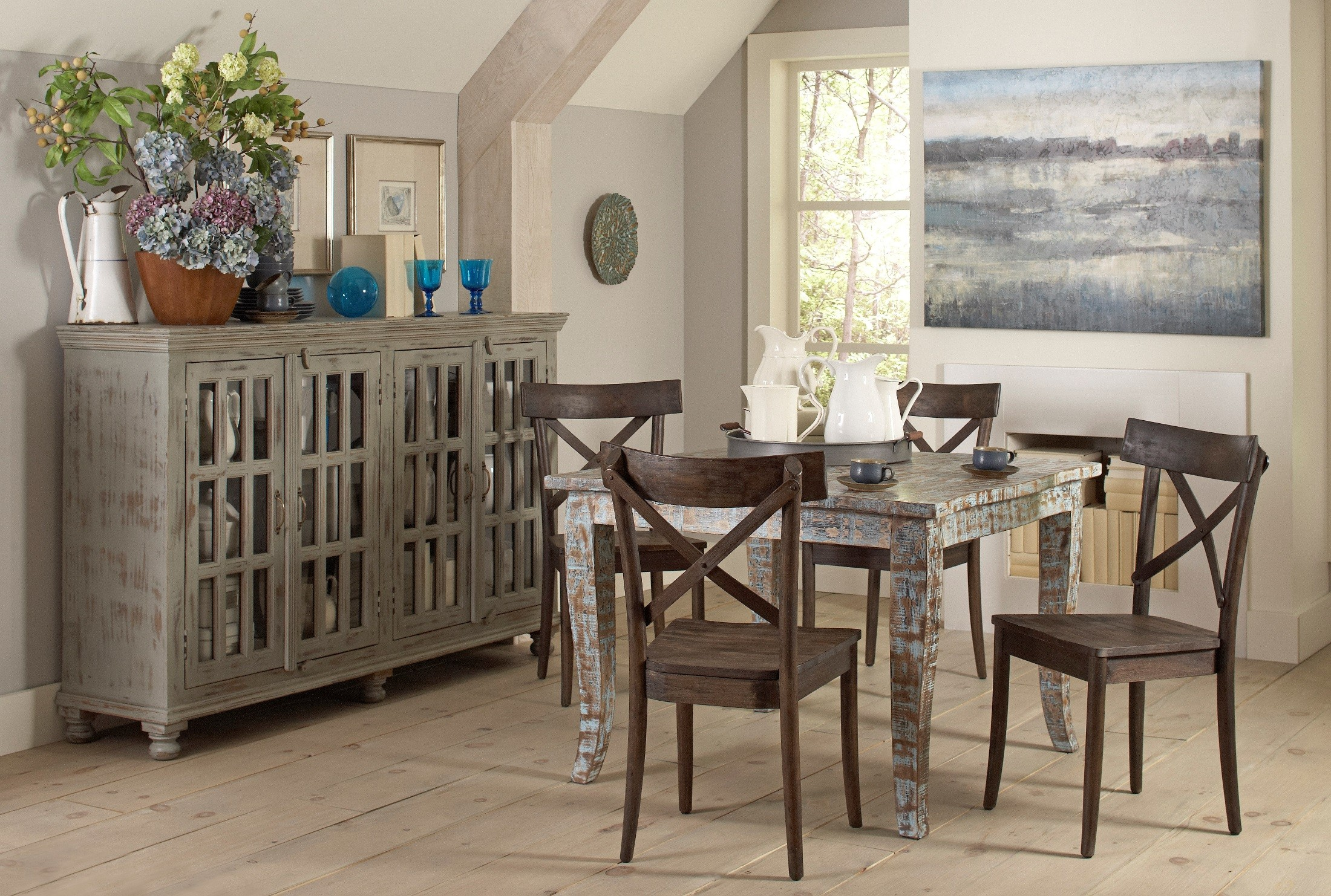 Artisan Hand Painted Square Dining Table from Largo