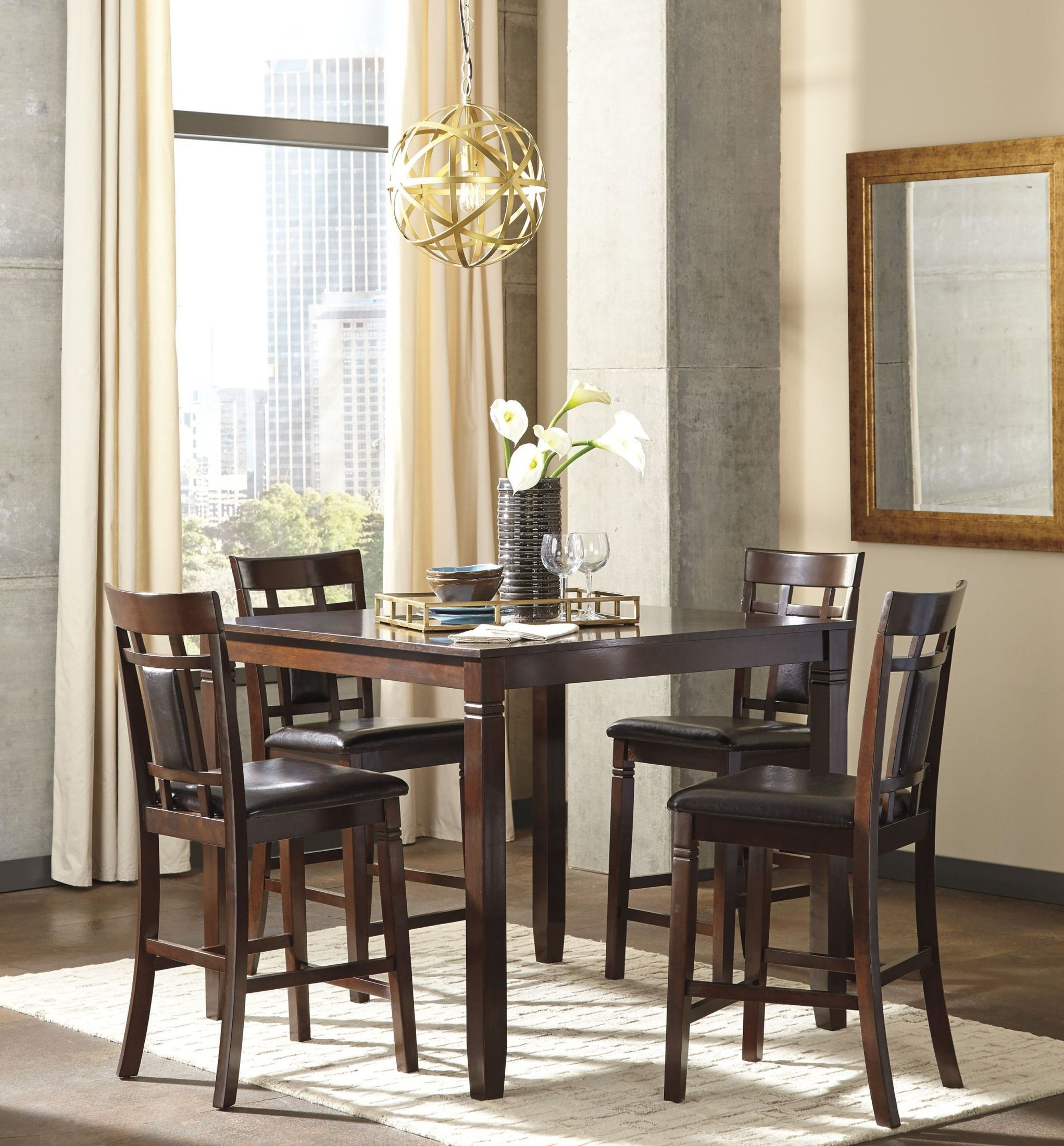 Bennox brown 5 piece counter height dining room set from for 5 piece dining room sets