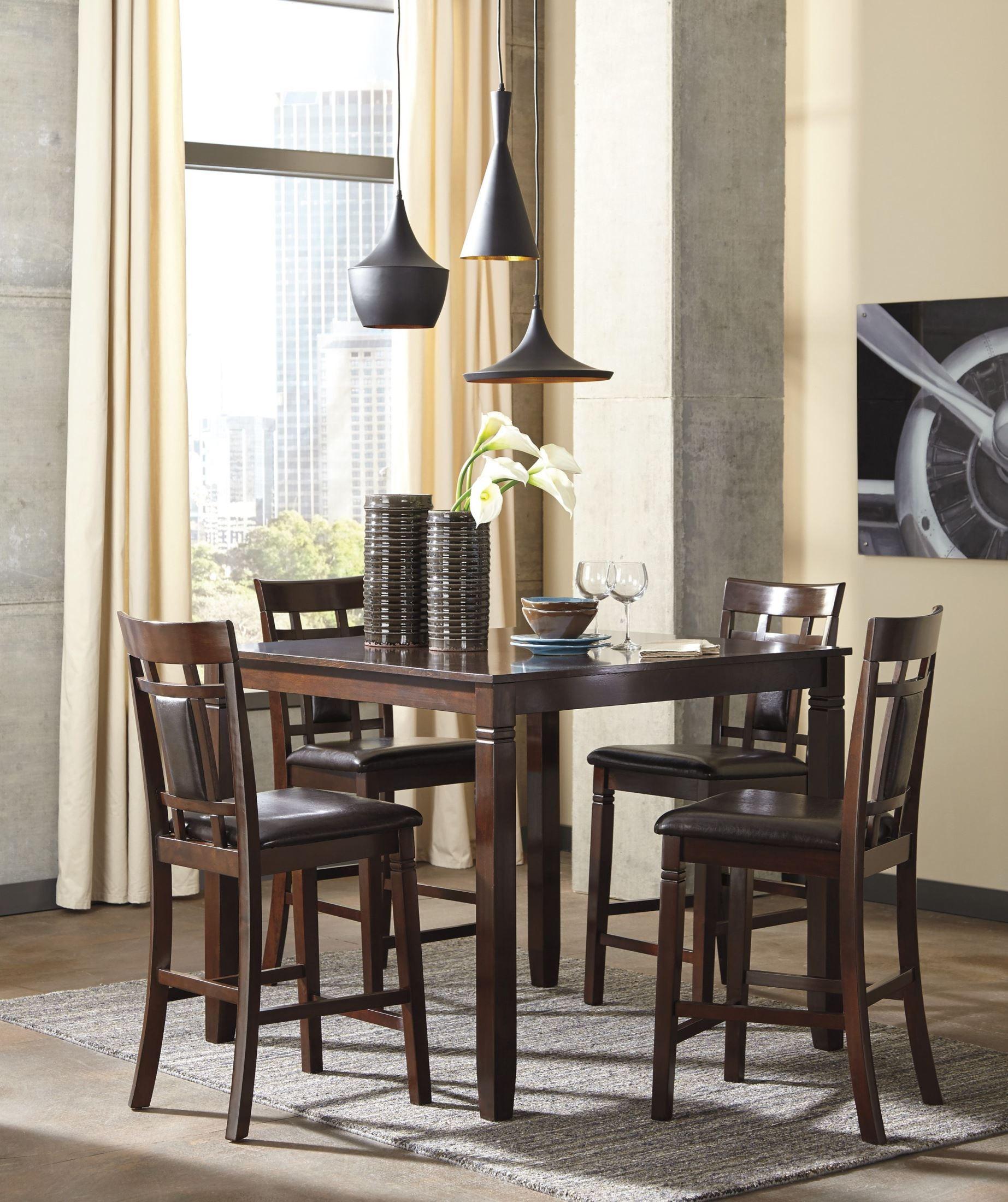 Bennox Brown 5 Piece Counter Height Dining Room Set, D384