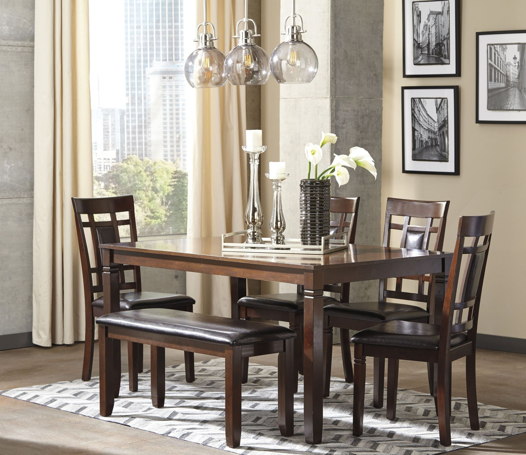 Bennox brown 6 piece rectangular dining room set from for Dining room sets 6 piece