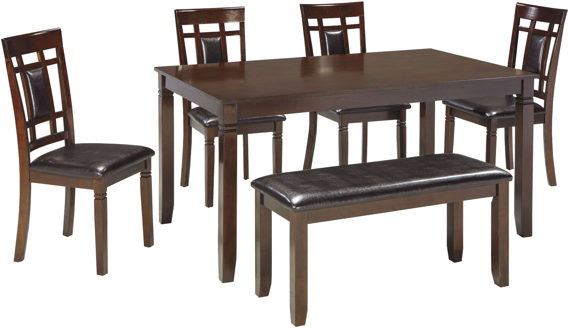 Bennox brown 6 piece rectangular dining room set from for Dining room tables 11 piece