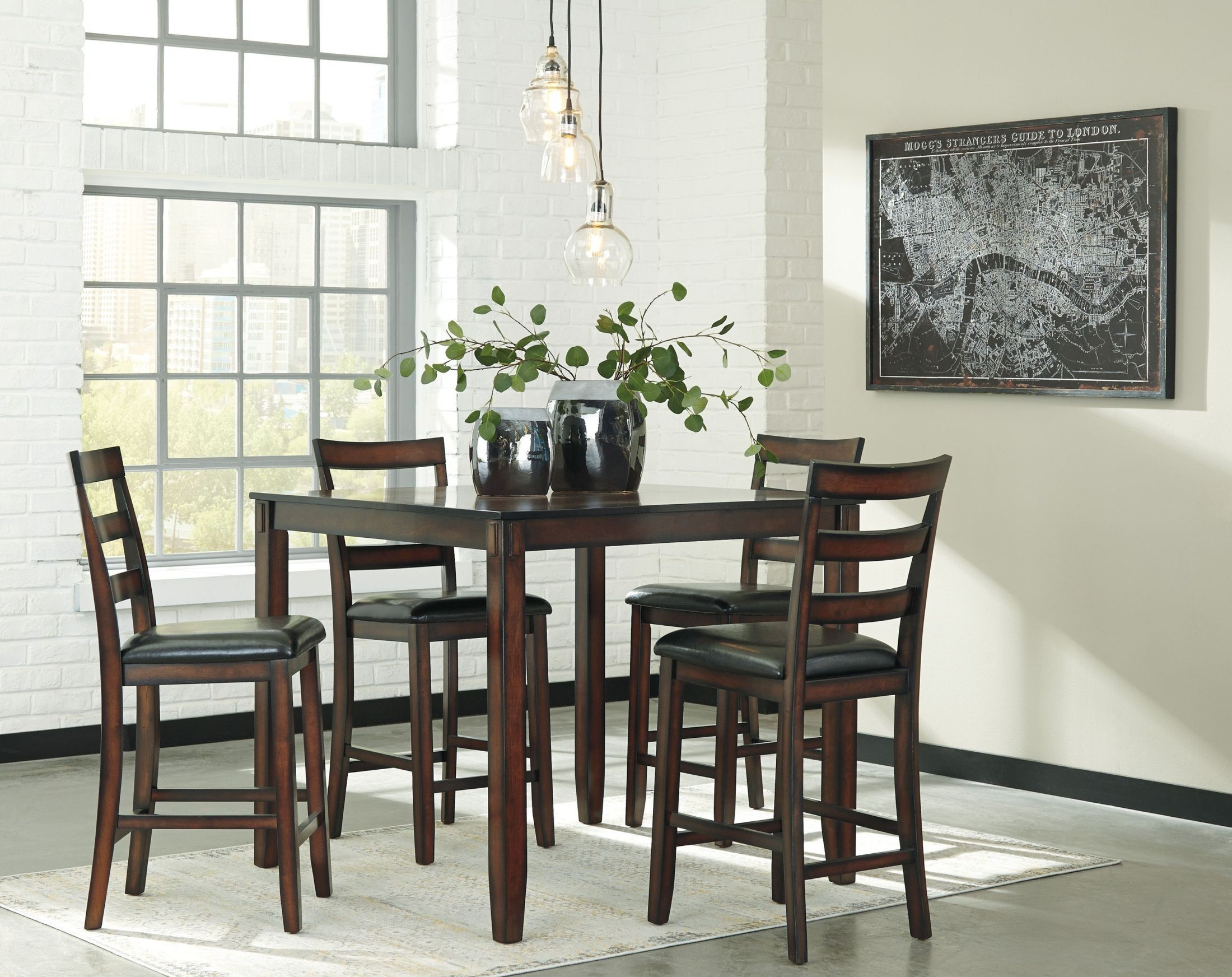 Coviar Brown 5 Piece Counter Height Dining Room Set From