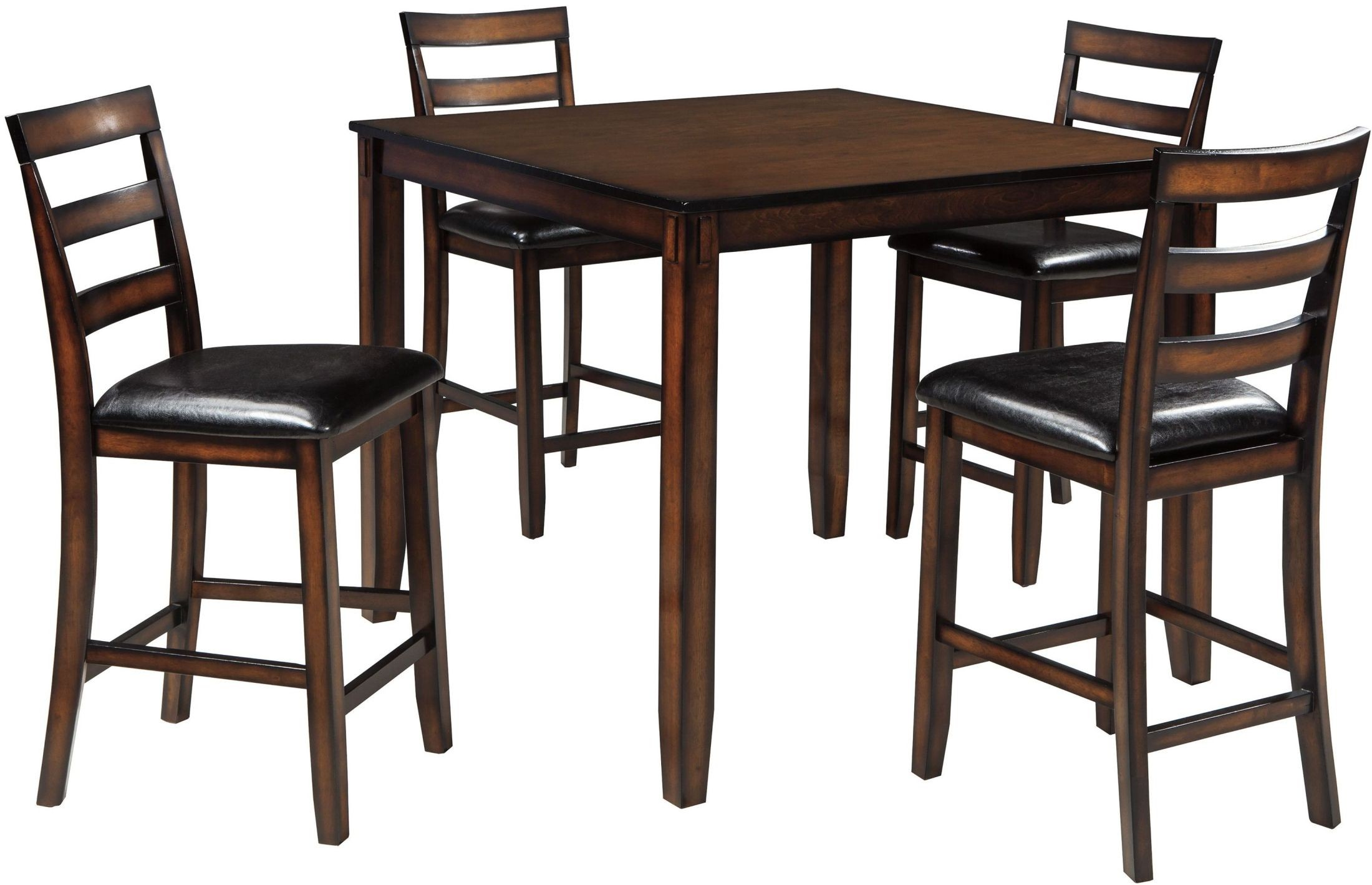 Coviar brown 5 piece counter height dining room set from for Brown dining room set
