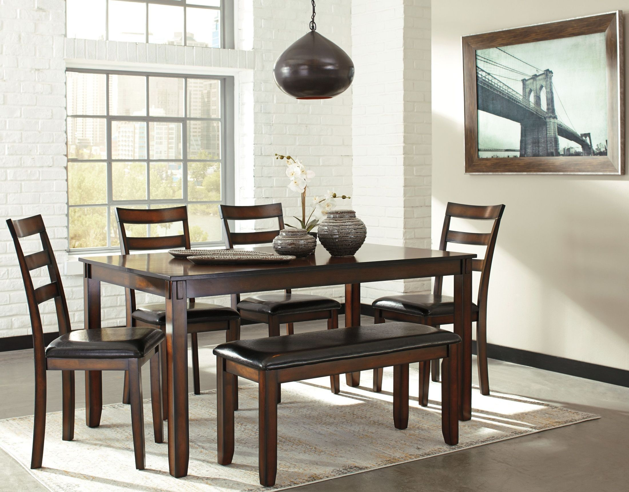 Coviar brown 6 piece dining room set from ashley coleman for 2 piece dining room set