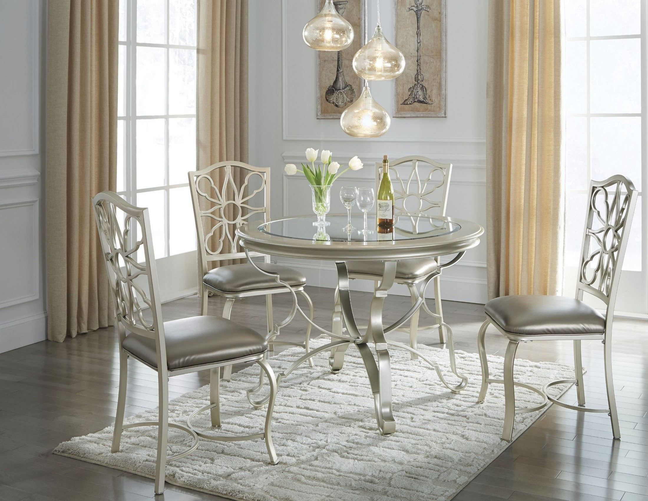 Shollyn silver round dining room set from ashley coleman furniture shollyn silver round dining room set dzzzfo