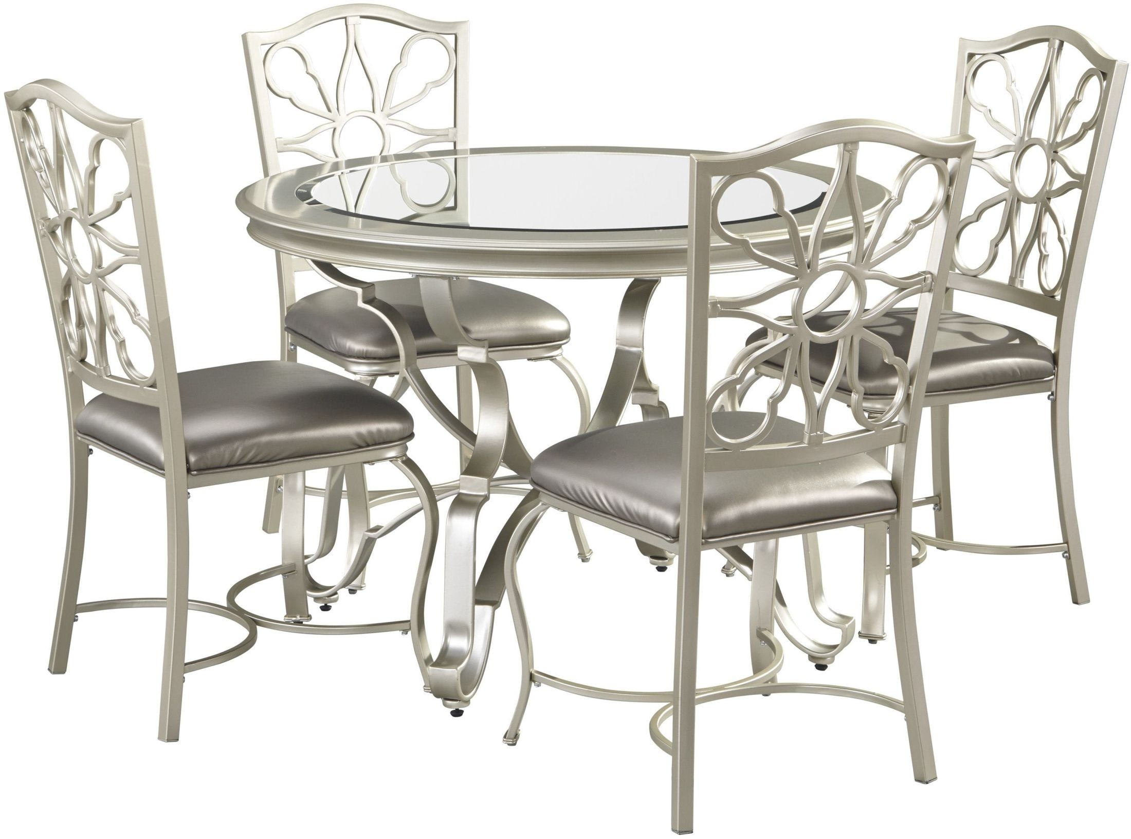Ashley Furniture Dining Room Table Shollyn Silver Round Dining Room Set D390 15 Ashley