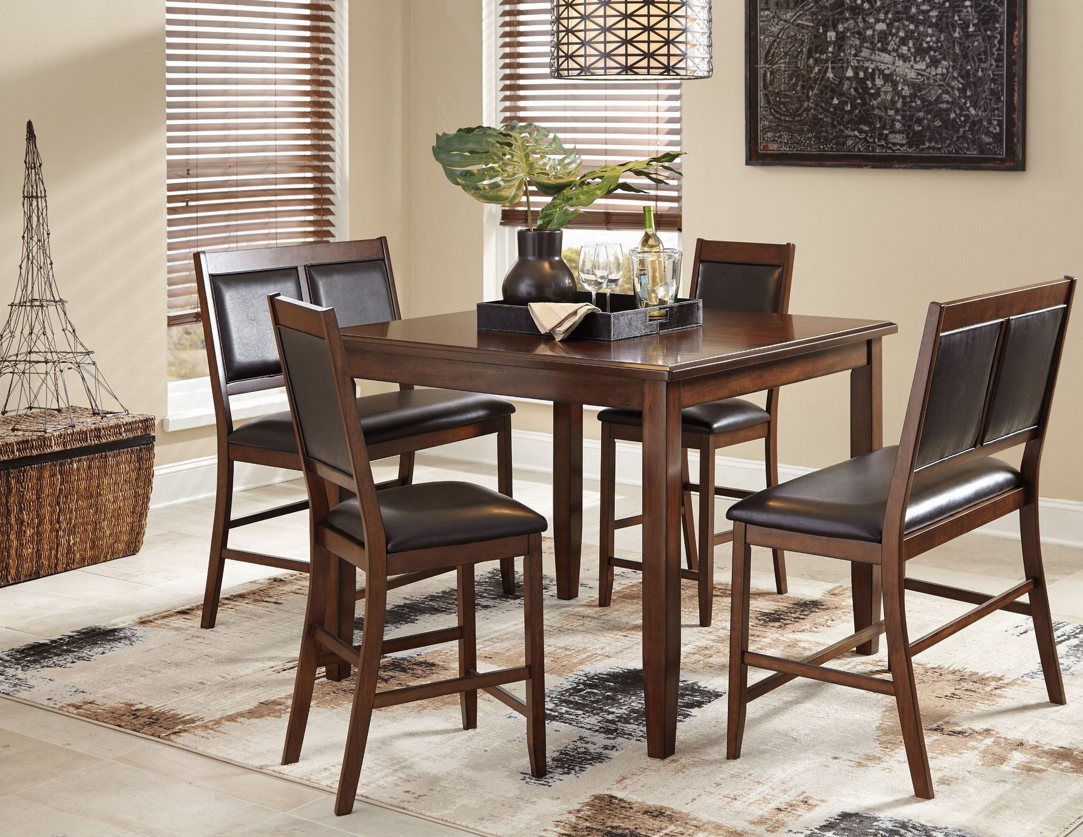 Meredy brown 5 piece counter height dining room set from for Brown dining room set