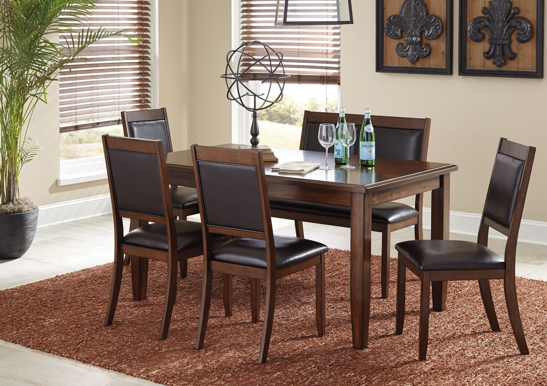 Meredy brown 6 piece dining room set from ashley coleman for 2 piece dining room set