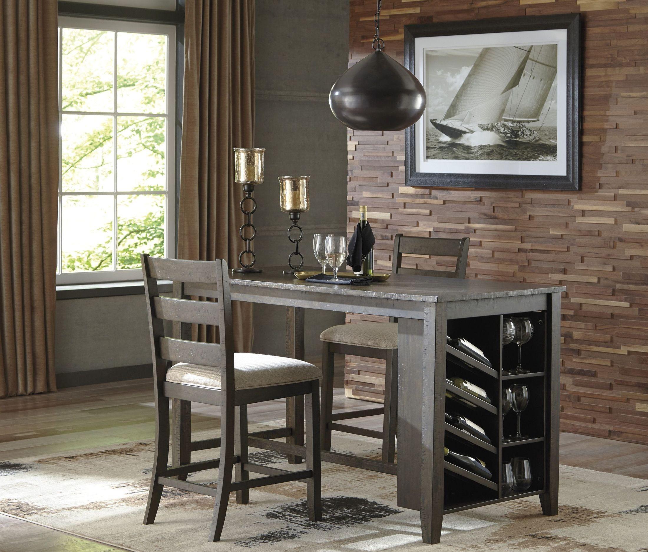 Rokane Light Brown Rectangular Counter Height Dining Room