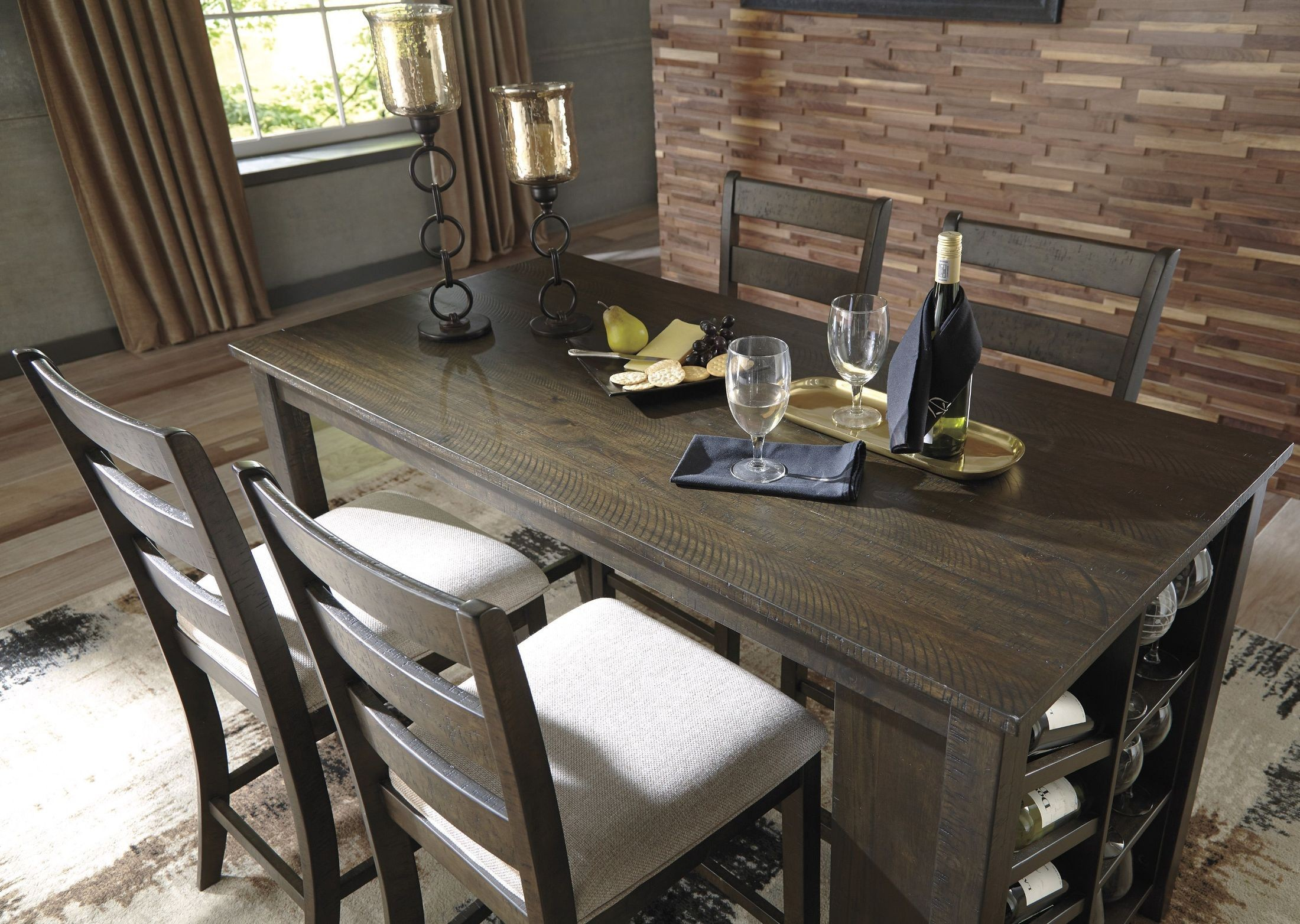 Dining Table Light Height: Rokane Light Brown Rectangular Counter Height Dining Table