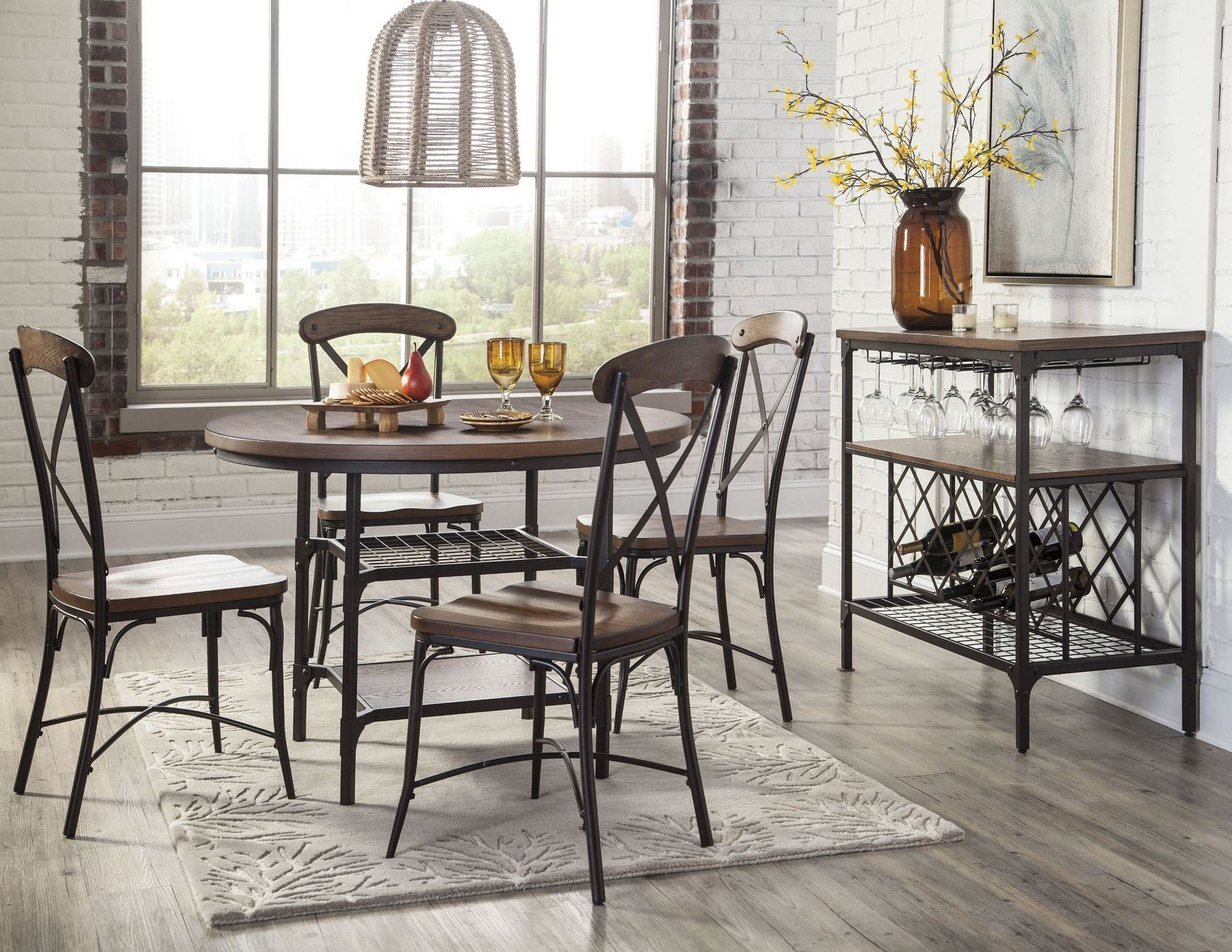 Rolena brown round dining room set from ashley d405 15 for Brown dining room set