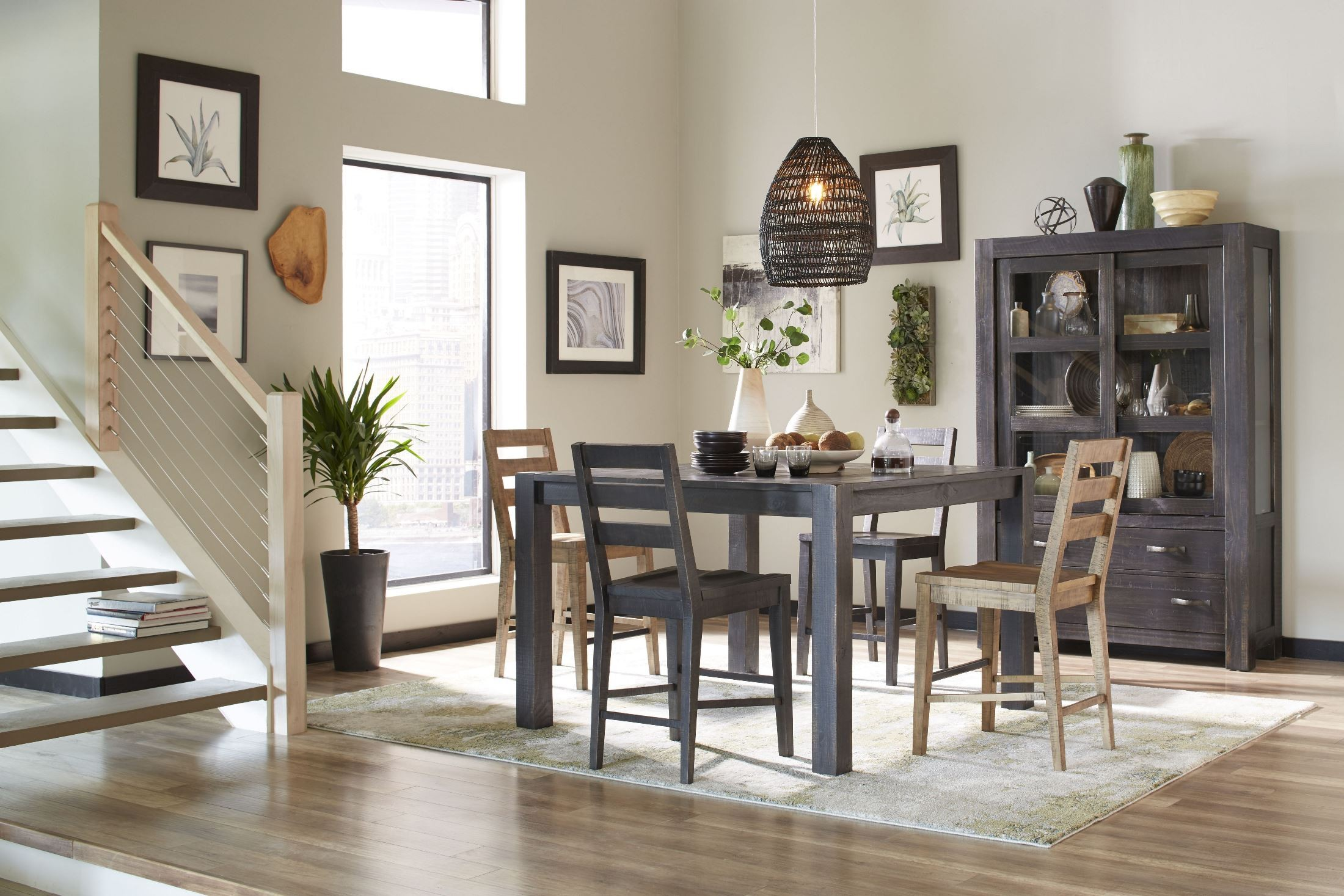 Easton dark chocolate counter height dining room set from for Dining room tables easton
