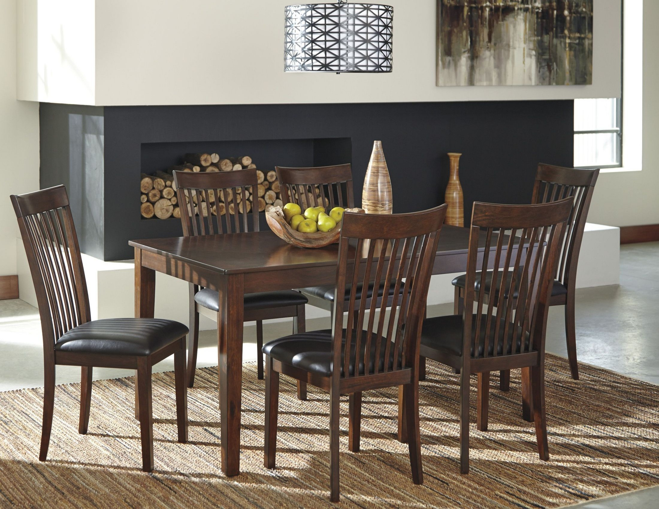 Mallenton medium brown 7 piece dining room set from ashley for 2 piece dining room set