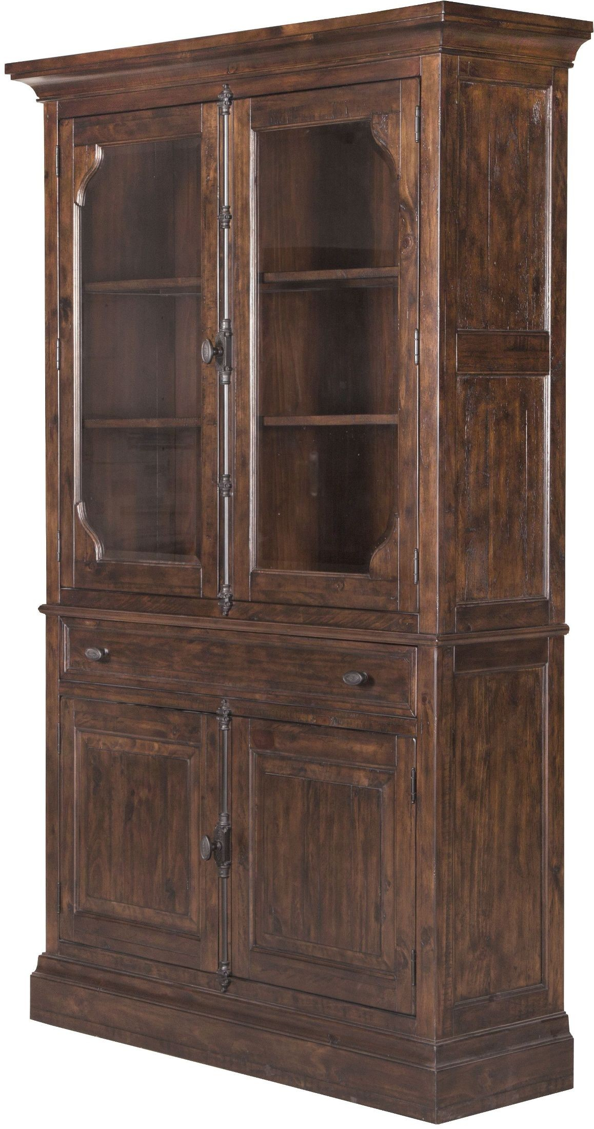 st claire rustic pine curio china cabinet from magnussen. Black Bedroom Furniture Sets. Home Design Ideas