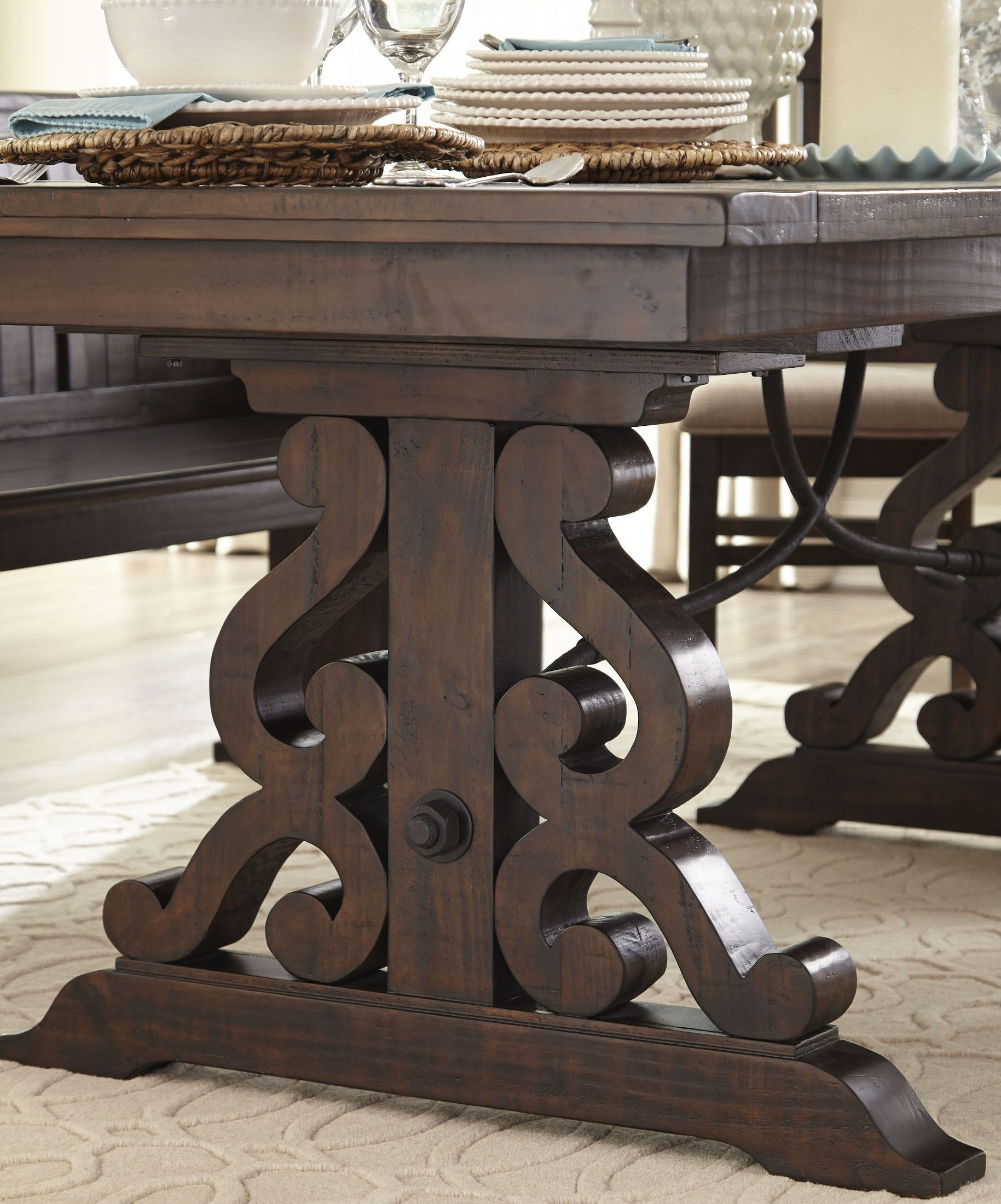 StClaire Rustic Pine Extendable Rectangular Dining Table