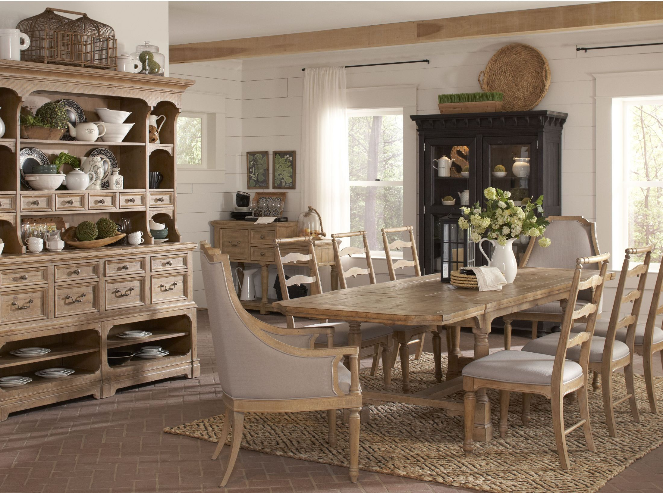 Perfect Graham Hills Cracked Wheat Extendable Rectangular Dining Room Set
