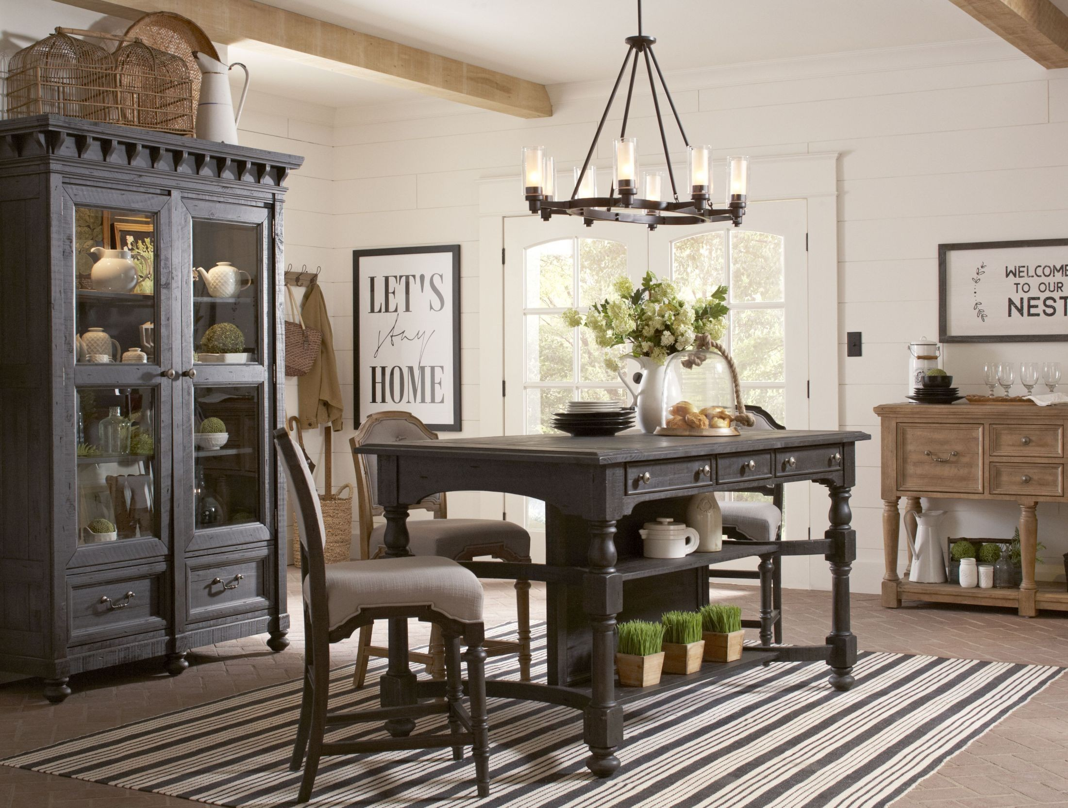 Bedford Corners Anvil Black Rectangular Counter Height Dining Room Set From  Magnussen Home | Coleman Furniture