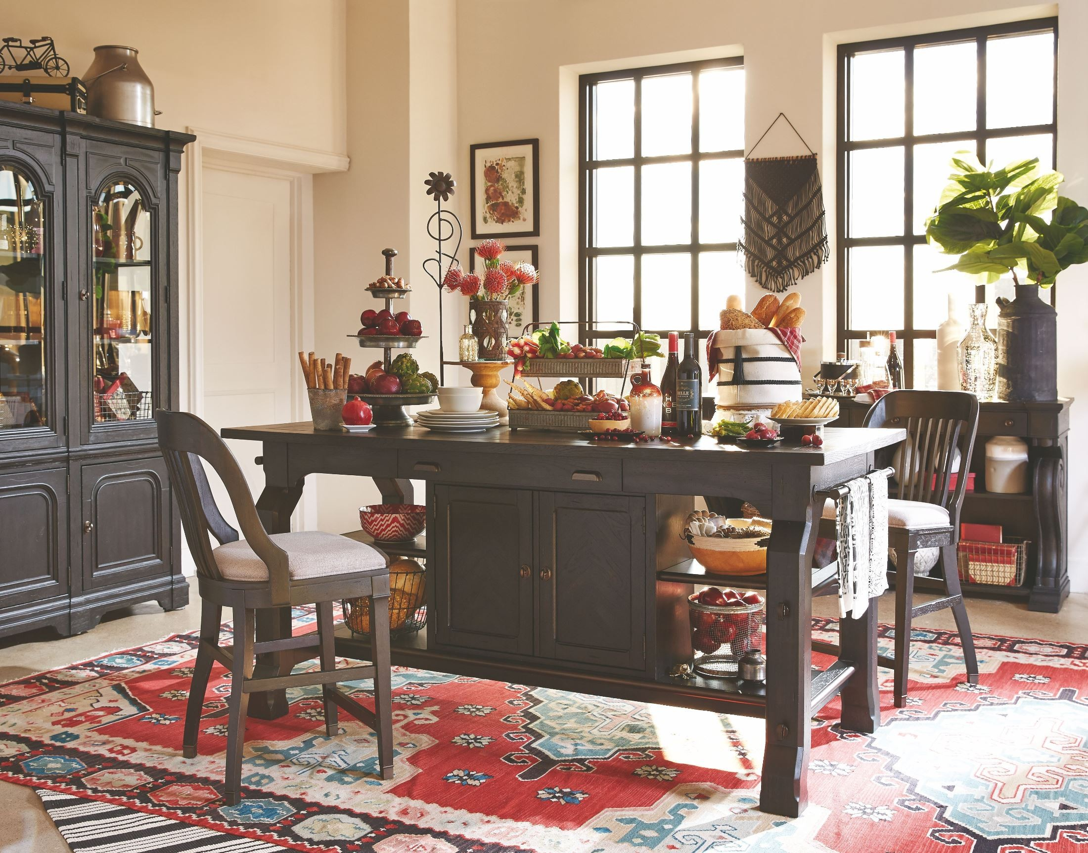 Hudson Square Vintage Charcoal Rectangular Counter Height Dining Room Set  From Magnussen Home | Coleman Furniture