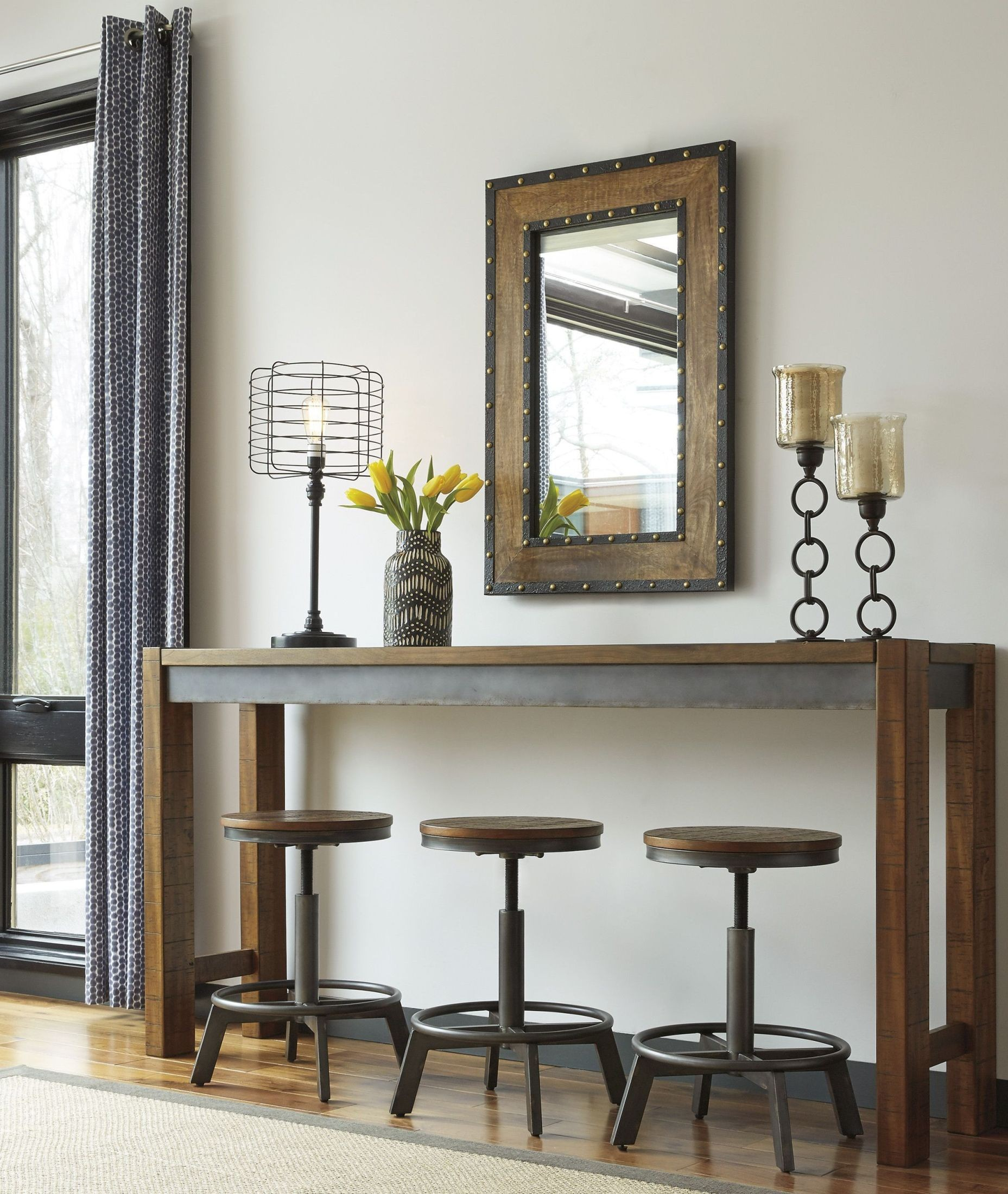 Torjin Brown And Gray Long Counter Height Dining Room Set