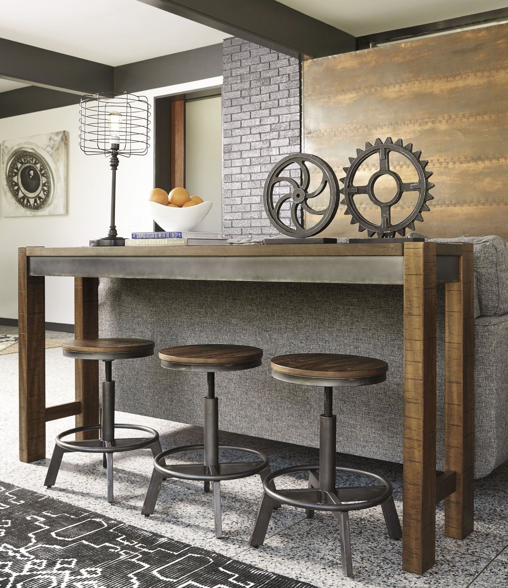 X torjin brown and gray long counter height dining room set
