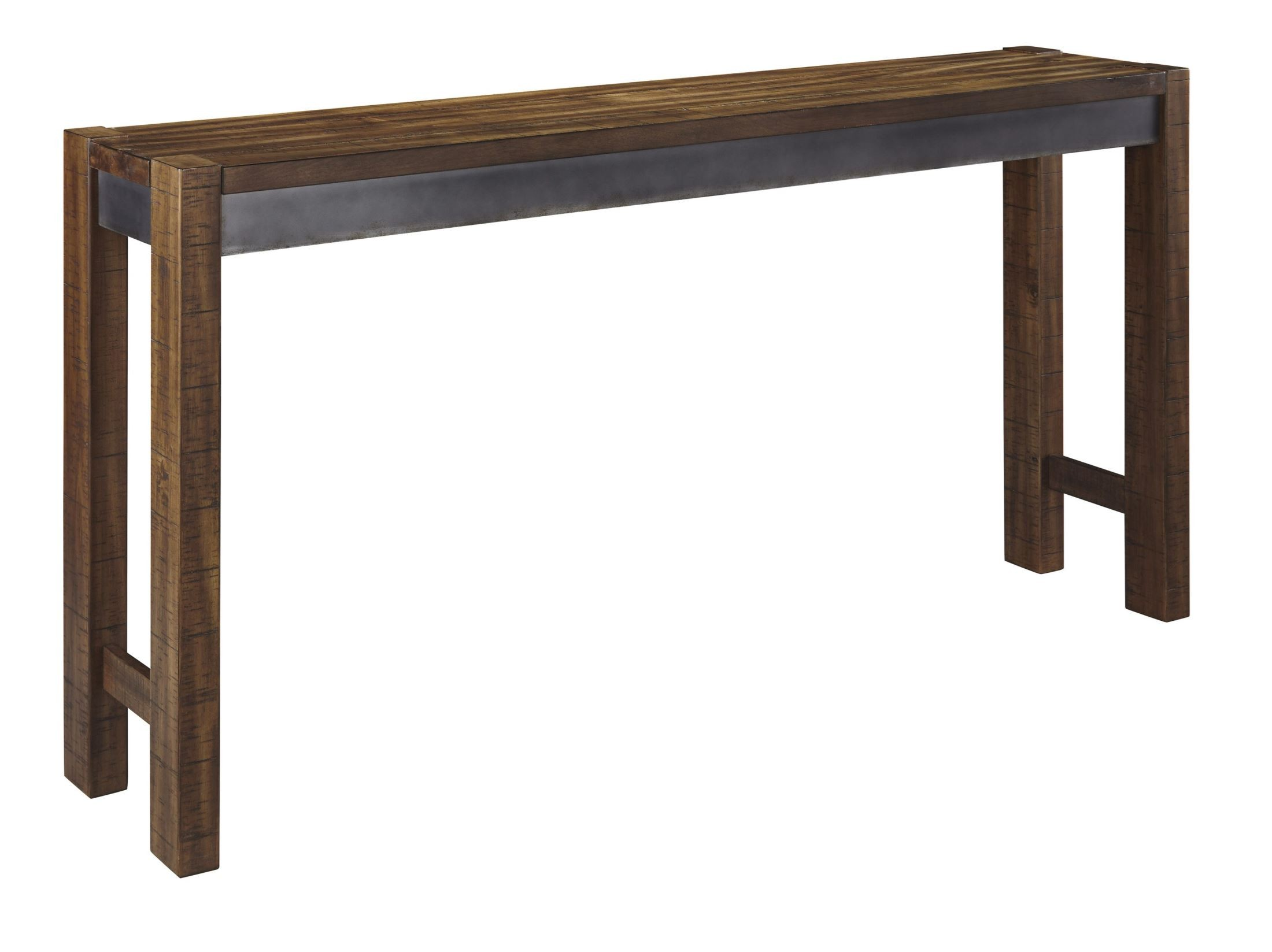 Torjin brown and gray long counter height dining table for Long dining table